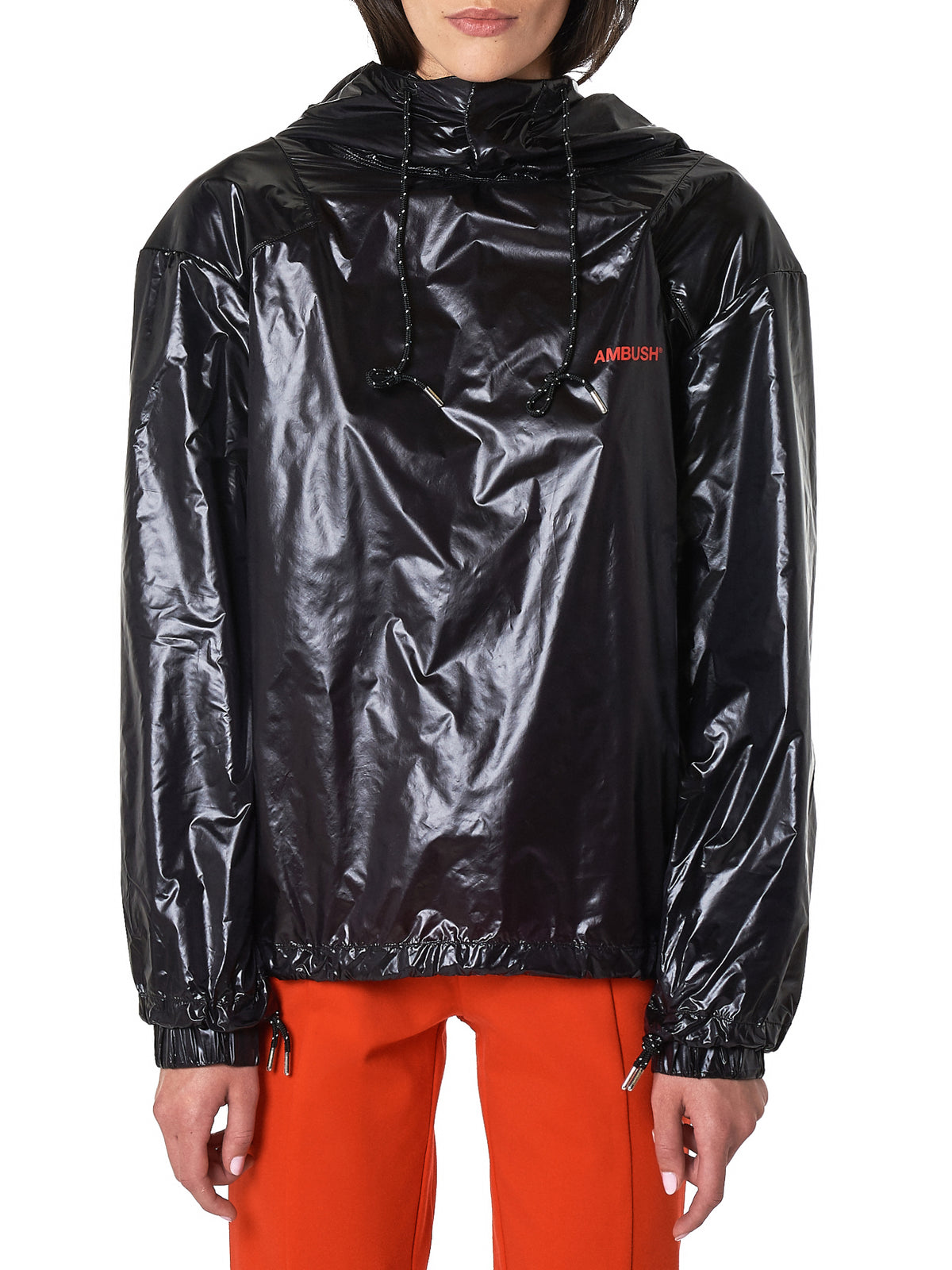 Geometric Shoulder Rain Jacket (AMBLS115-BLACK)