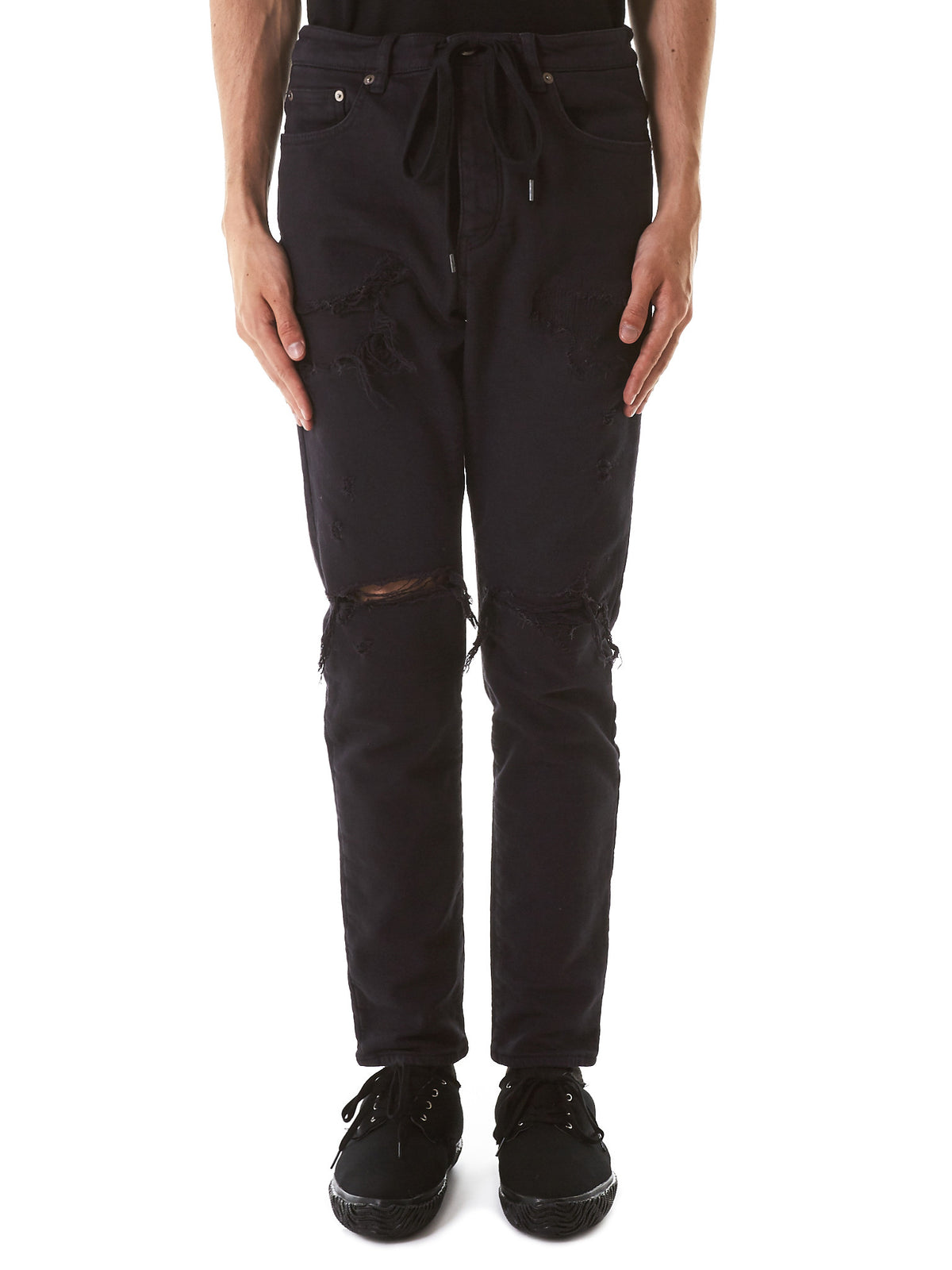 Distressed Denim Jeans (AP71-226-BLACK) - H. Lorenzo
