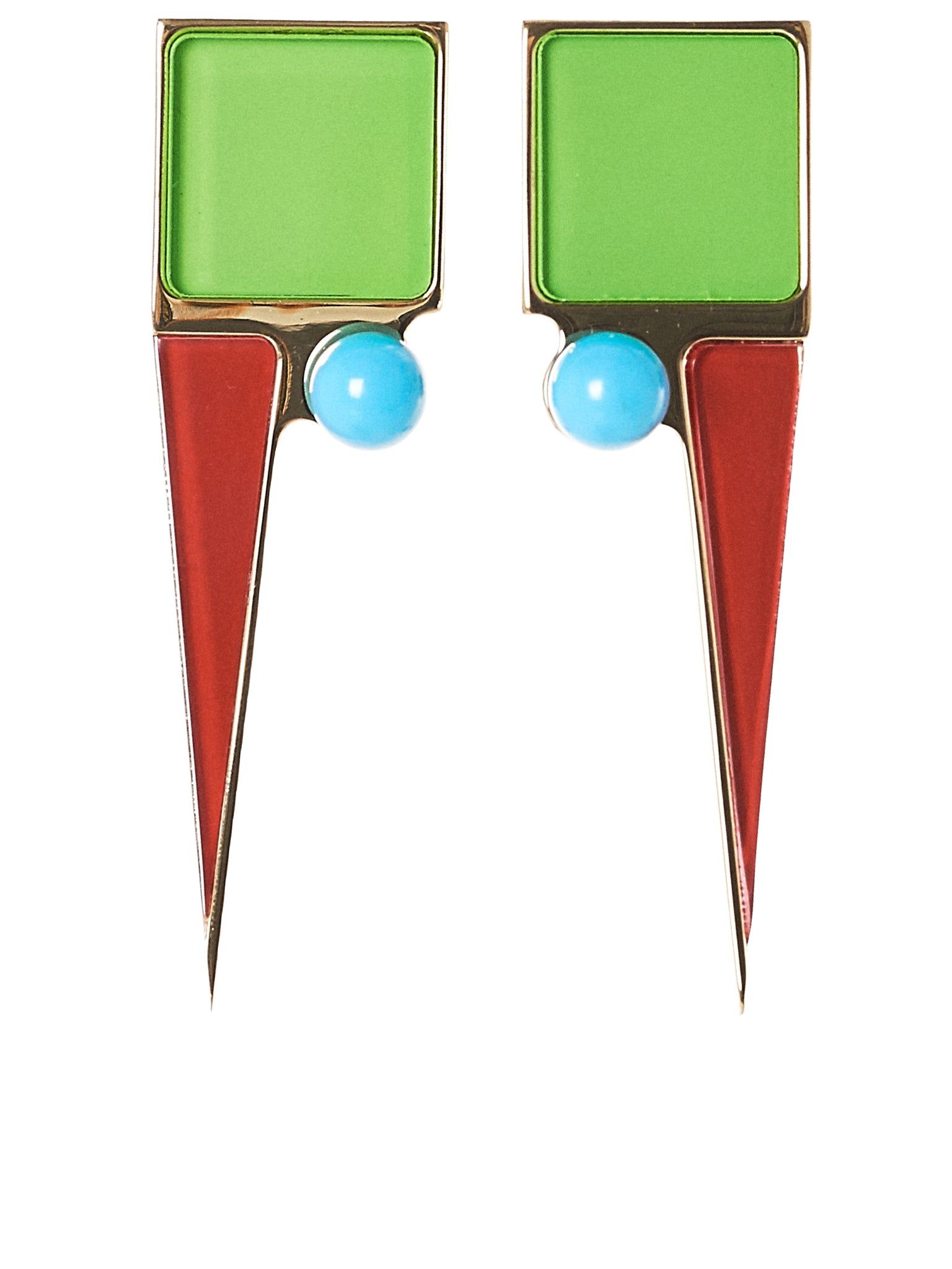 Structured Earrings (ART.61-GREEN-RED-BLUE)