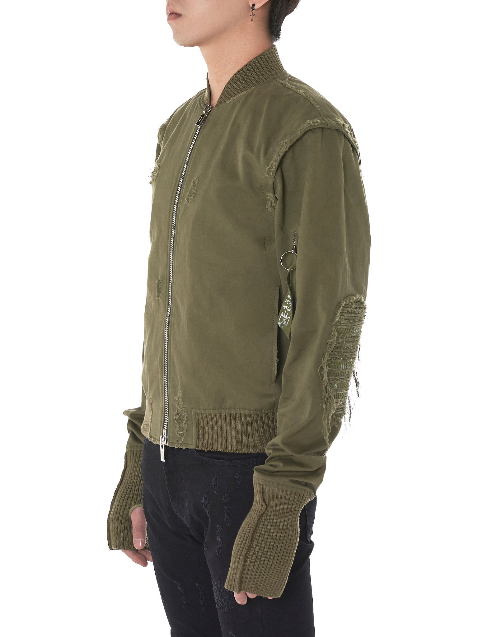 Distressed Bomber Jacket (ATTPE-MILITARY GREEN)