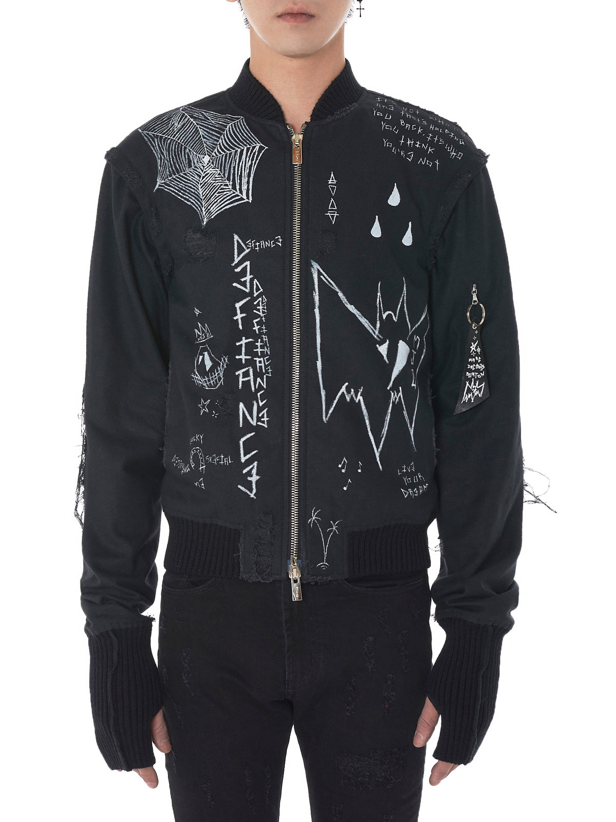 Hand-Painted Silk Bomber Jacket (ATTPR-BLACK)