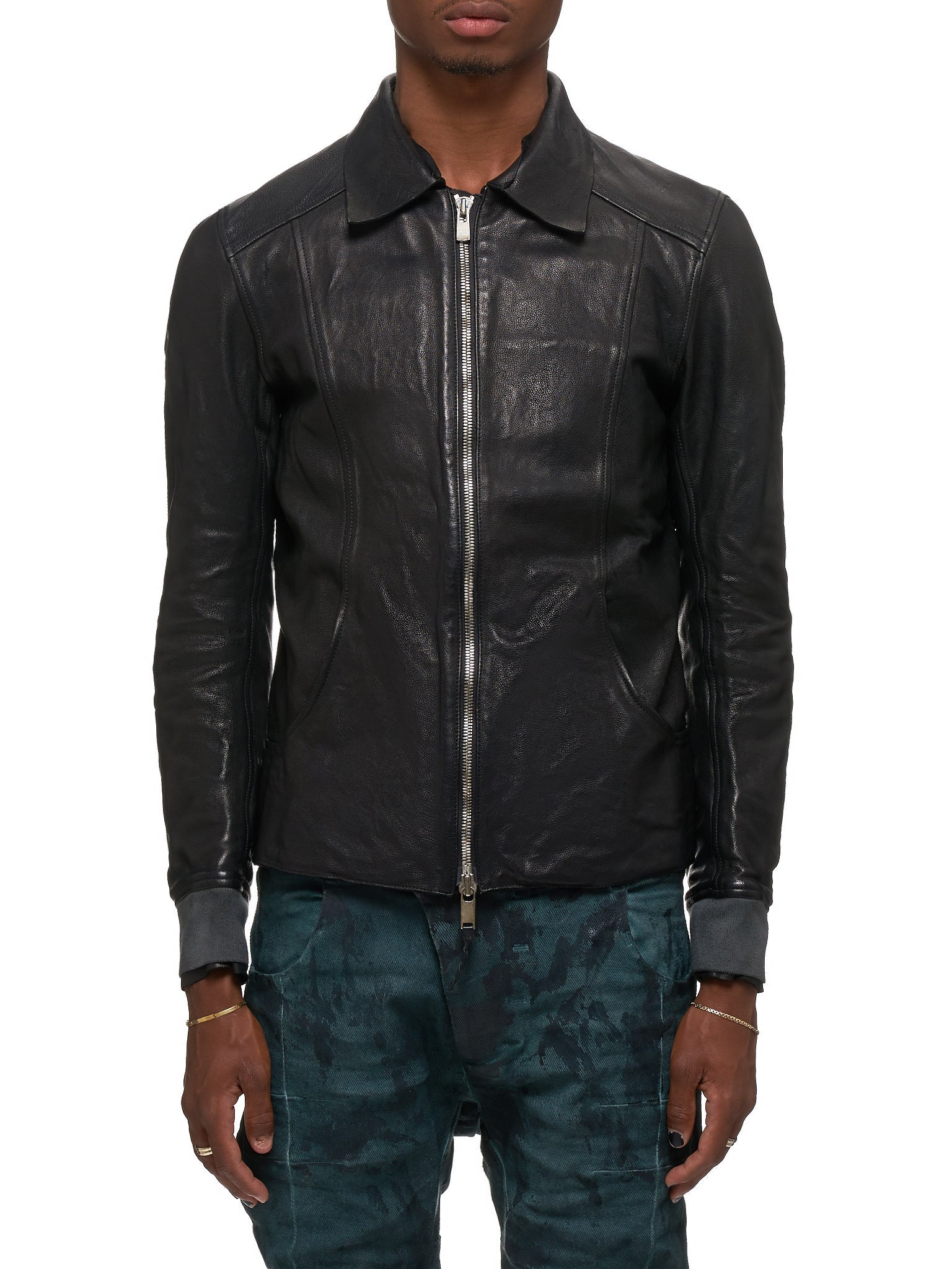 Guidi Leather Jacket - Hlorenzo Front