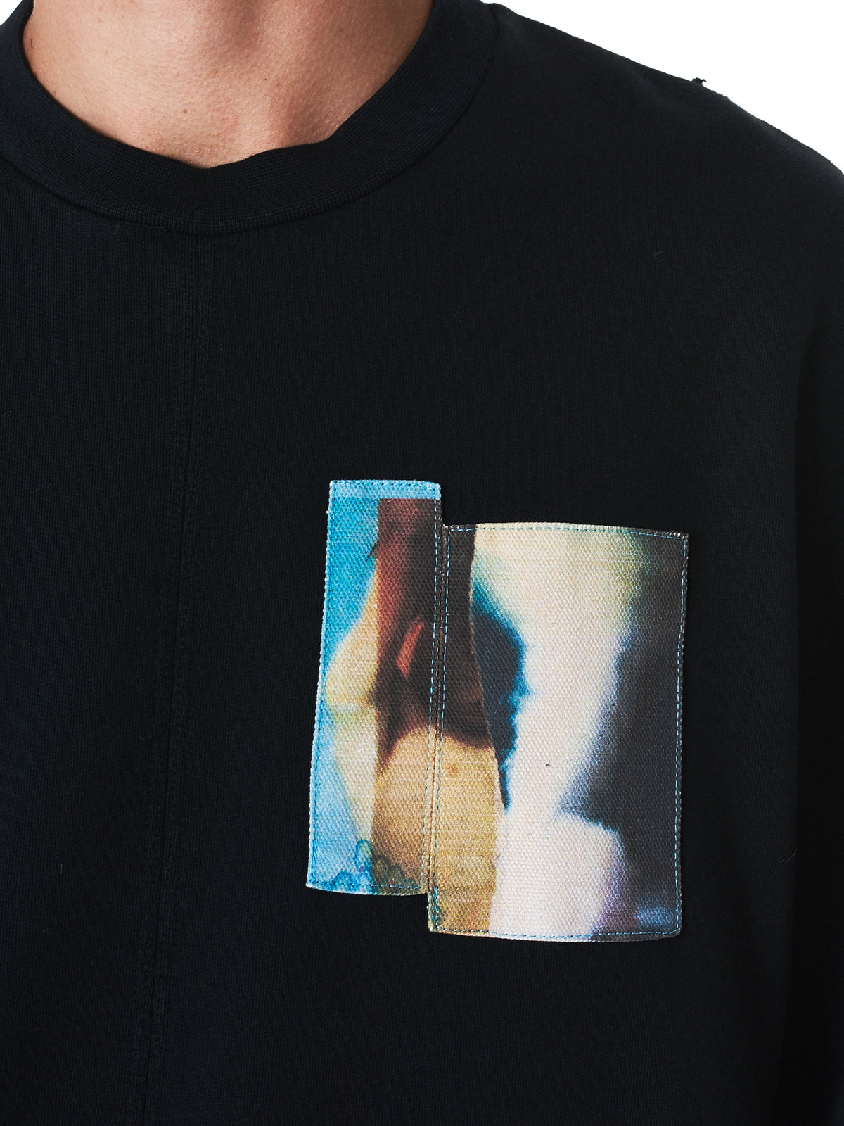 Graphic Patchwork Crewneck Pullover (AW17-171-BK-BLACK)