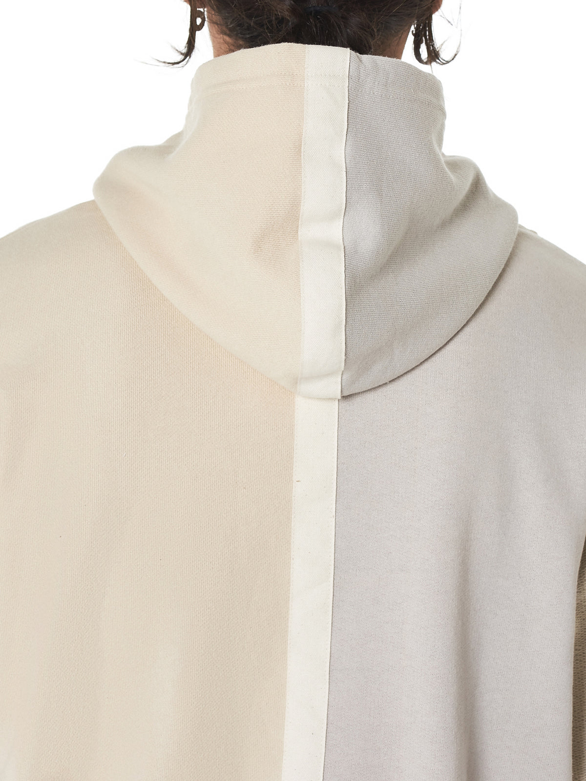 Distorted Patchwork Hooded Pullover (B090B0012A-IVORY)