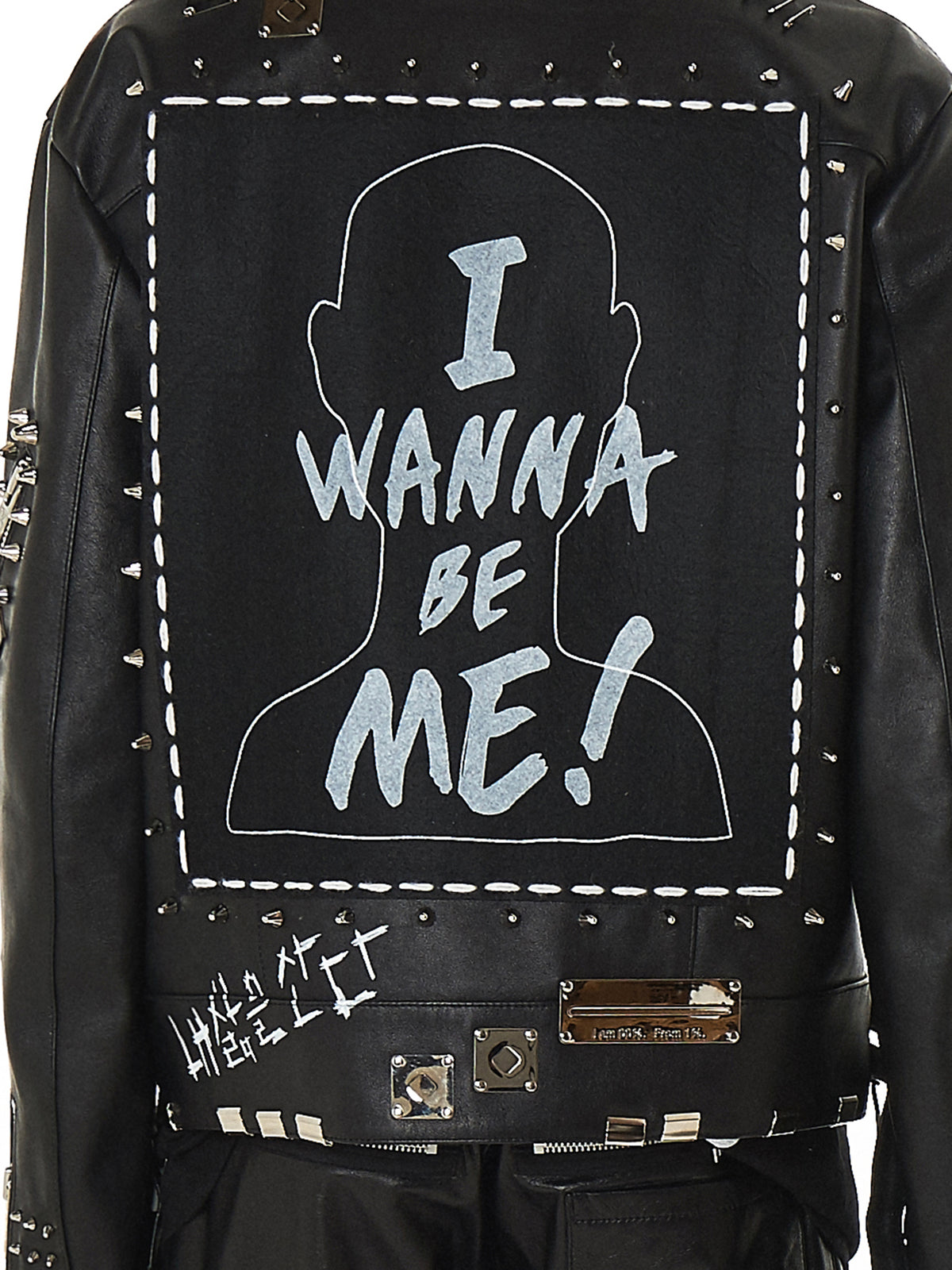99%IS Studded Leather Biker Jacket - Hlorenzo Detail 2