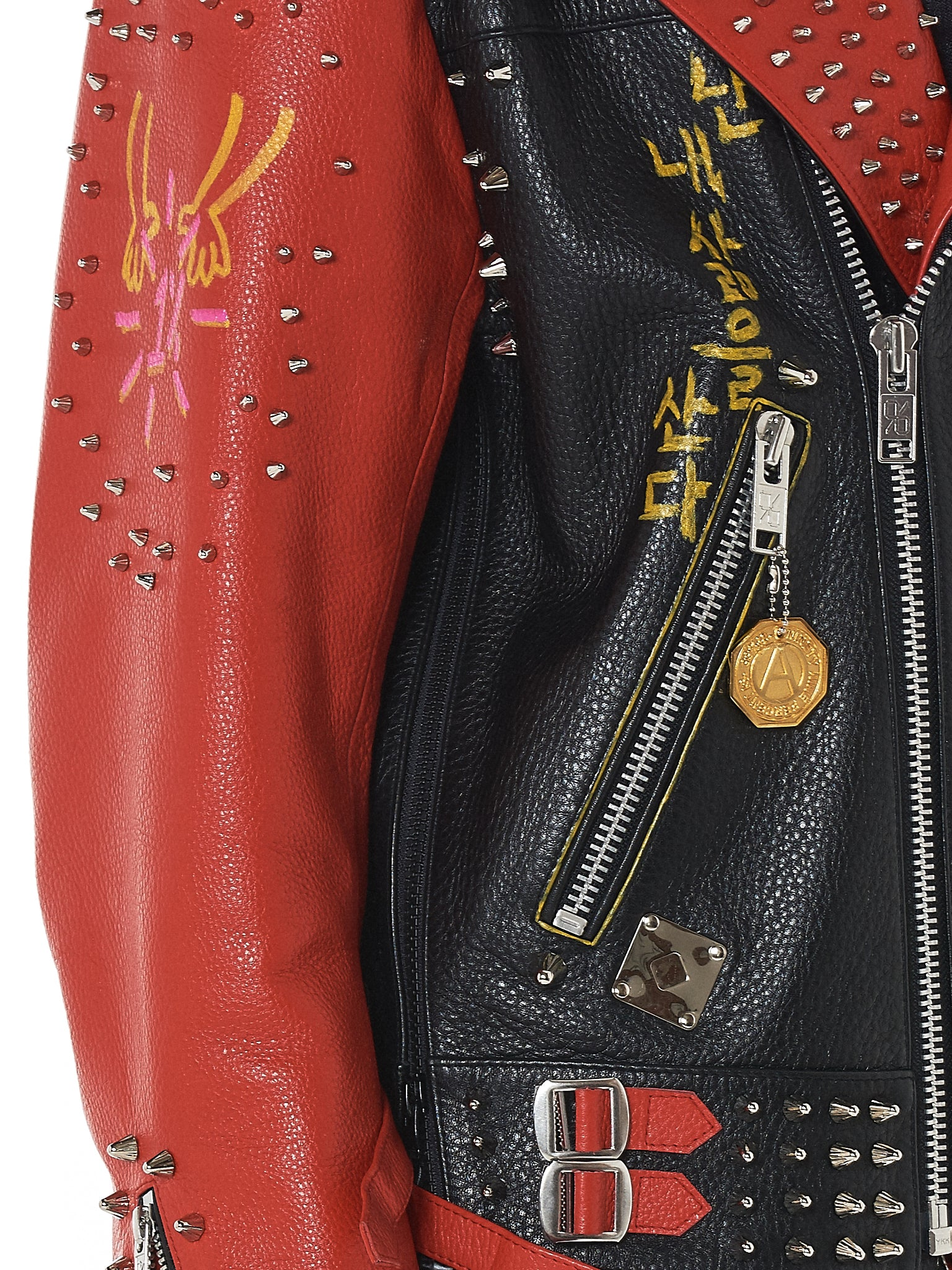 99%IS Studded Dualtone Biker Jacket - Hlorenzo Detail 5