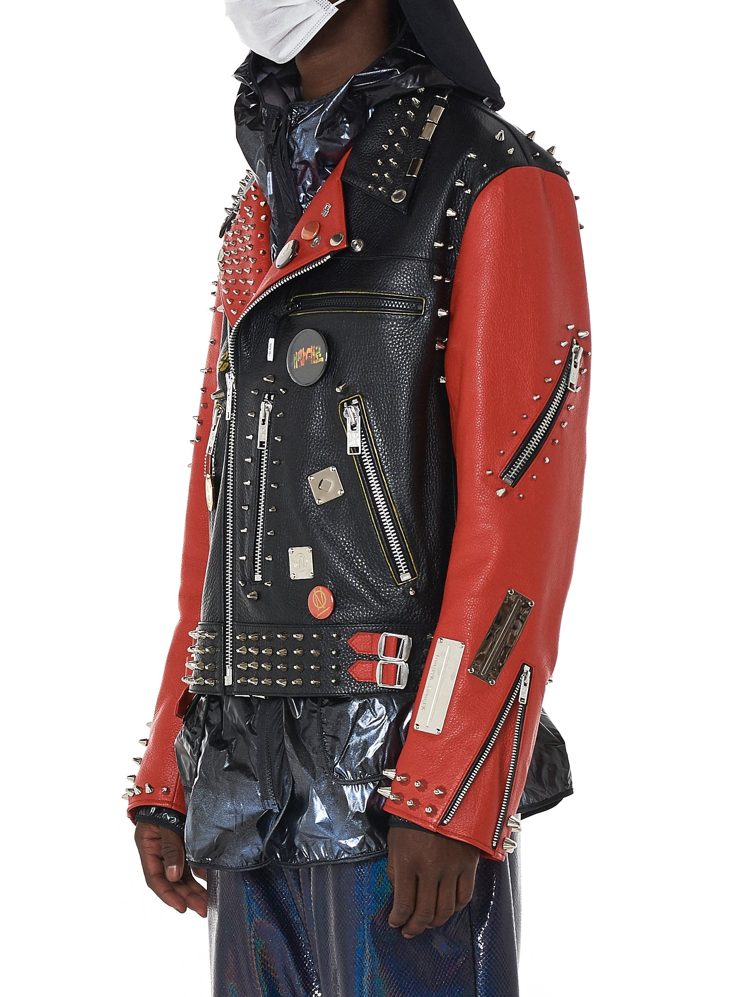 99%IS Studded Dualtone Biker Jacket - Hlorenzo Side