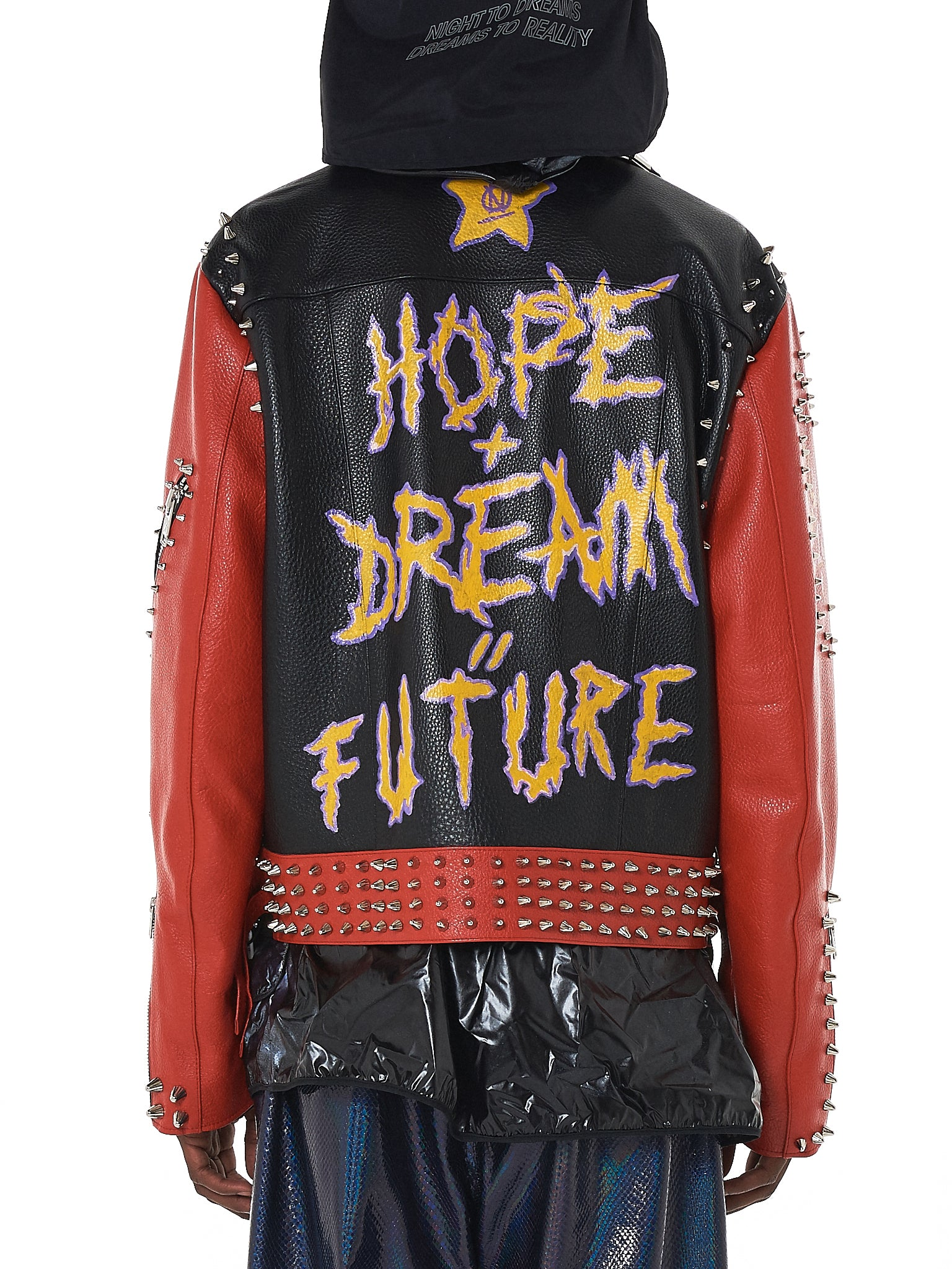 99%IS Studded Dualtone Biker Jacket - Hlorenzo Back
