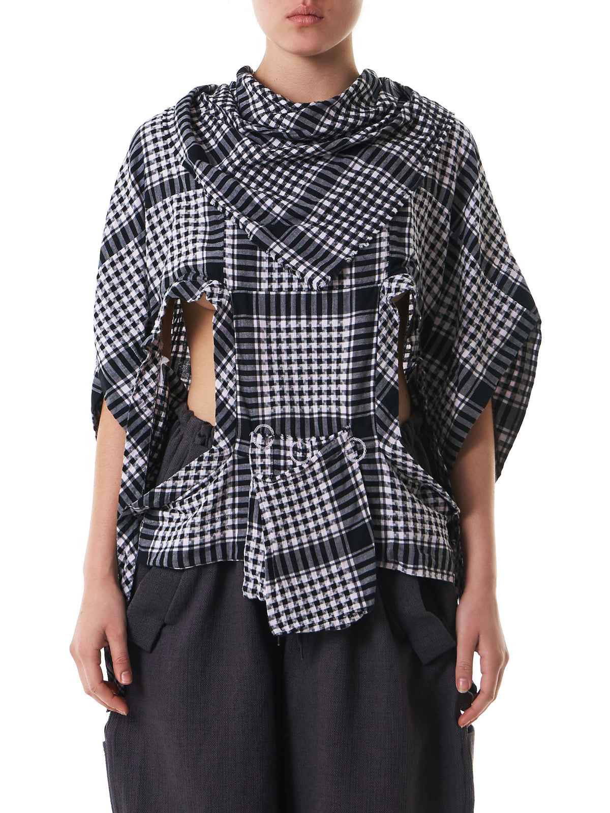 Deconstructed Checkered Blouse (BLBWHM1033-VIOLET) - H. Lorenzo