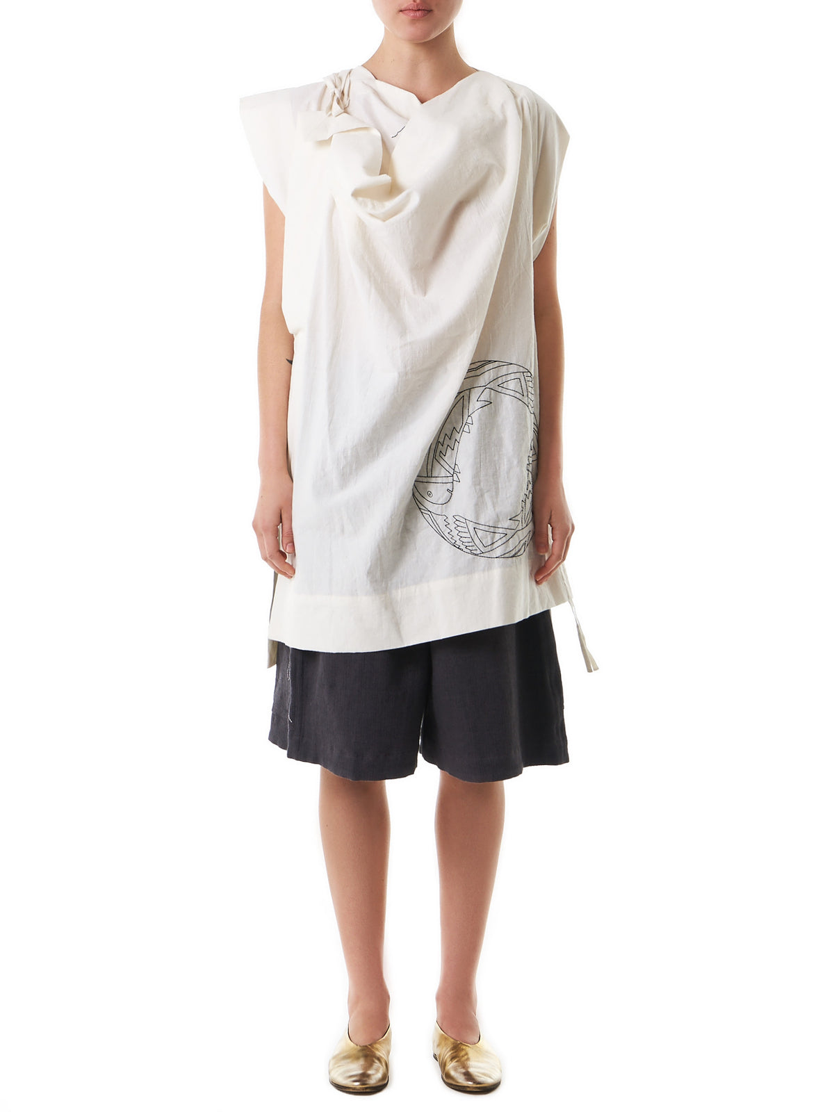 Knitted Graphic Draped Blouse (BLBWHM1020-WHITE) - H. Lorenzo