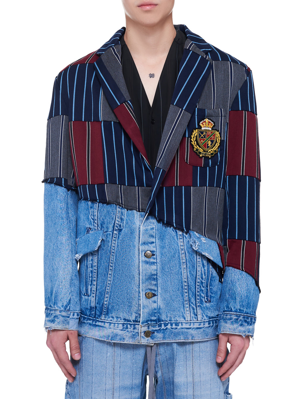 Prep Stripe Scrapwork Denim Jacket (BM001-MULTI)