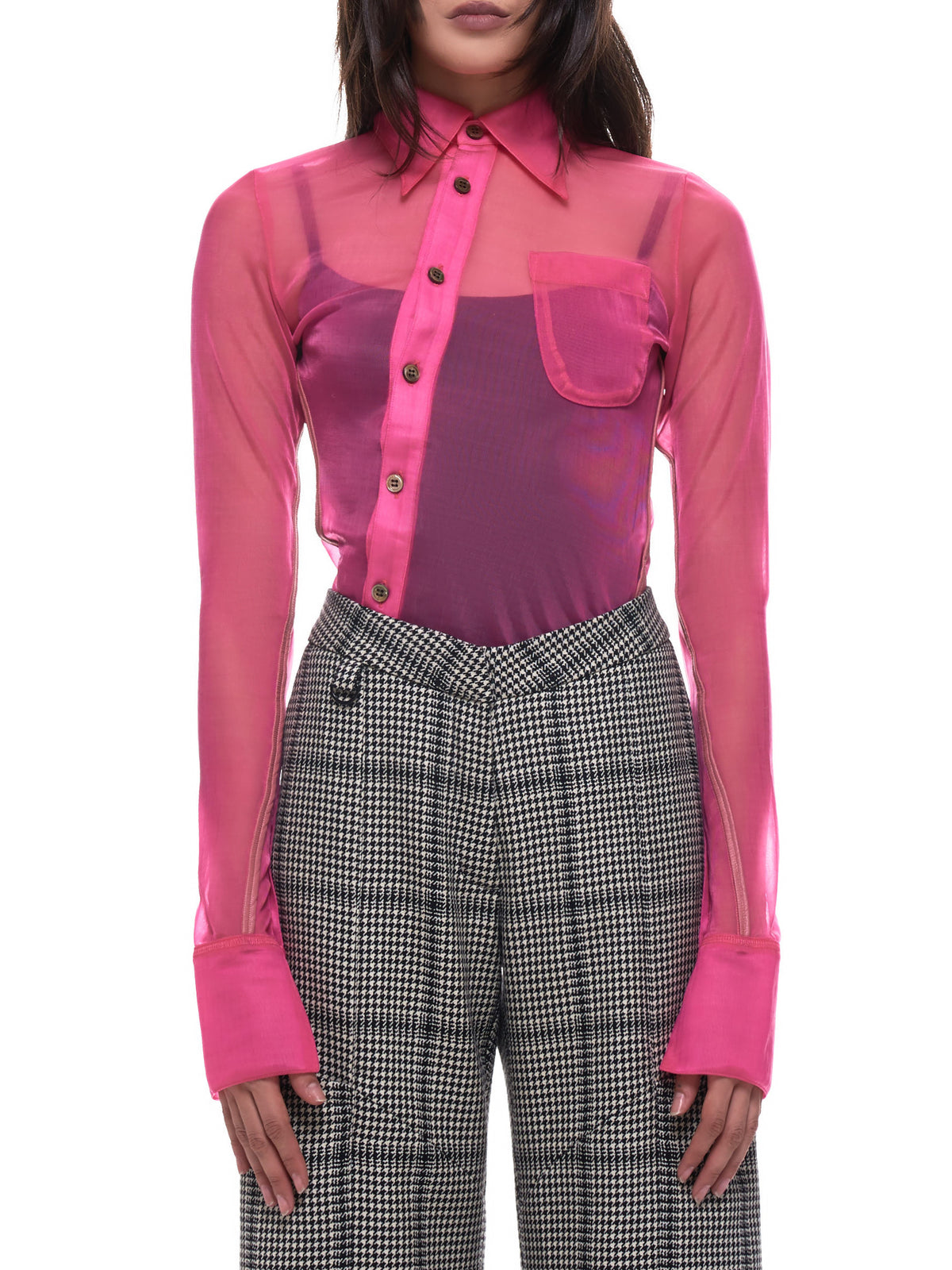 Ladies Asymmetrical Fitted Shirt (BMGA022FAB001-3000-PINK)