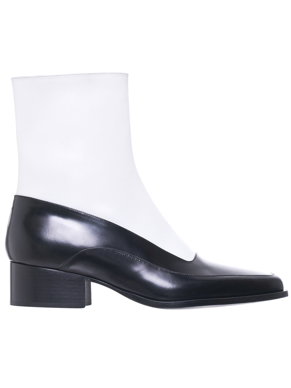 Stacked Heel Midi Boot (BOOT2-S17-S03-BLACK-WHITE)