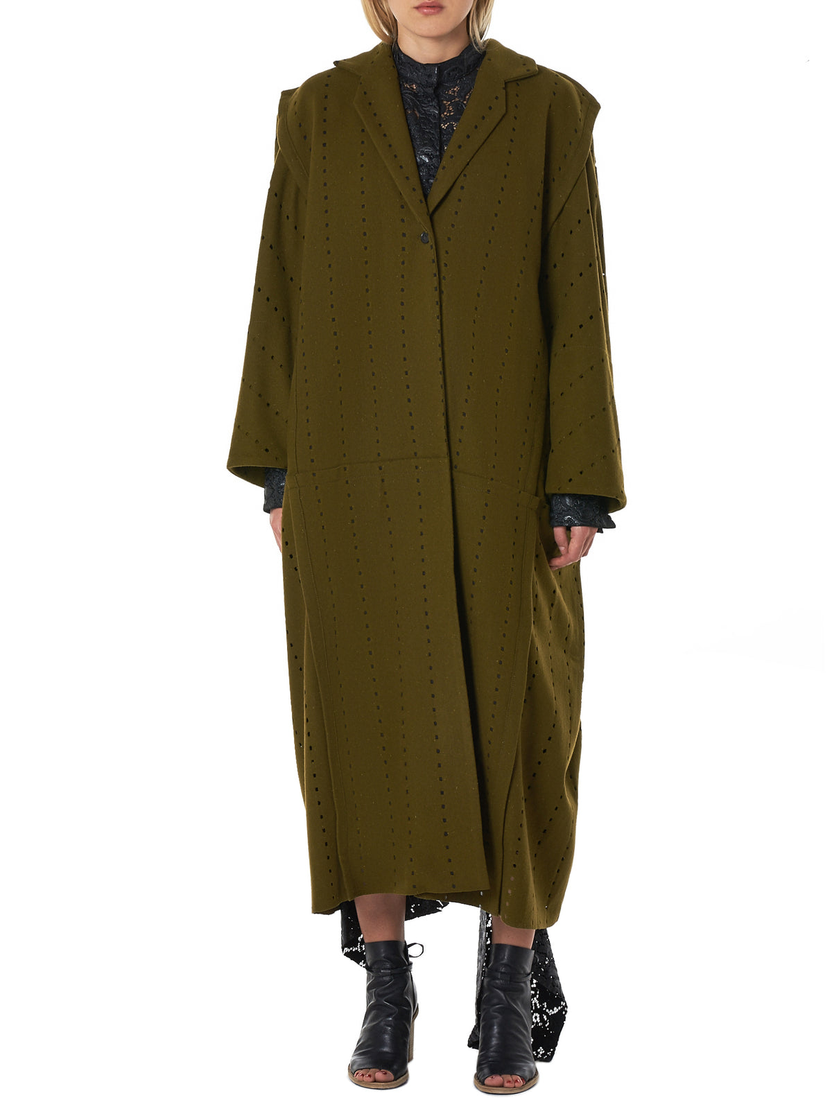 'Roots' Cut-Out Pattern Coat (C07F19-ROOTS-OLIVE)
