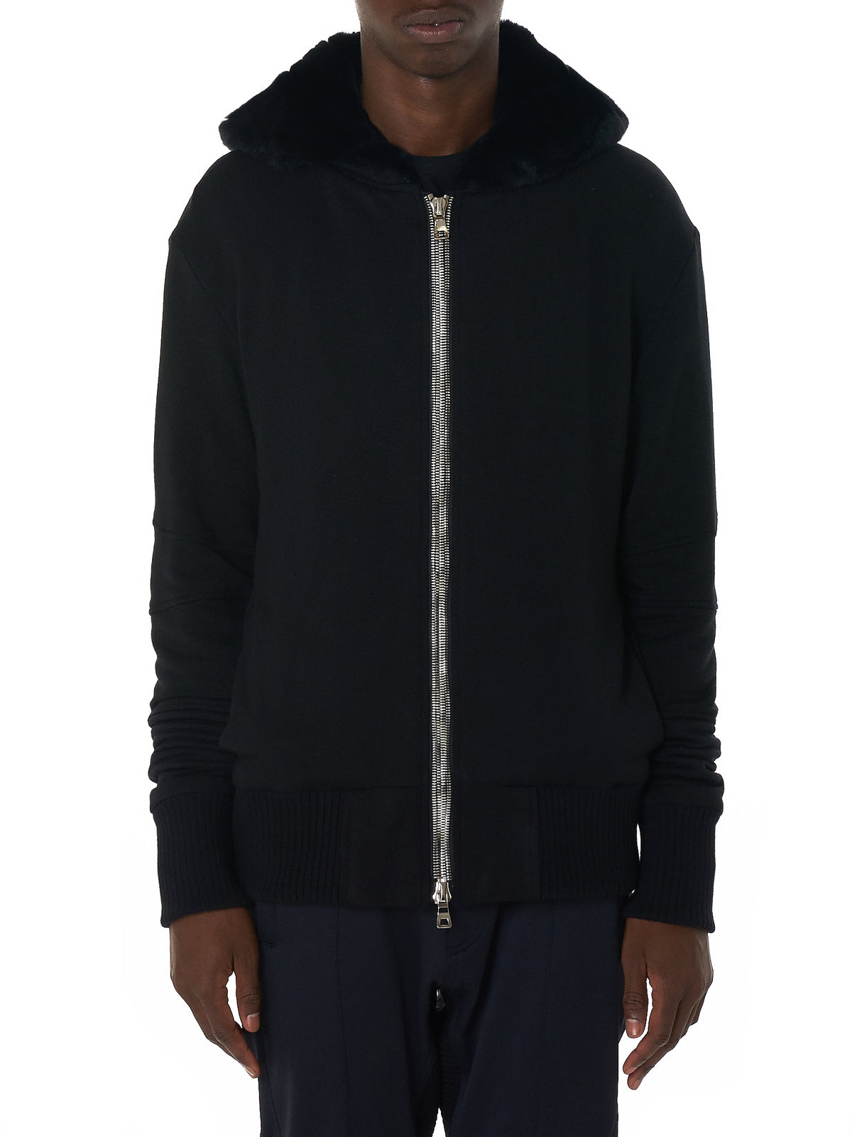 Cashmere Zip-Up Hooded Sweater (CASHMERE-ZIP-UP-FUR-BLK)