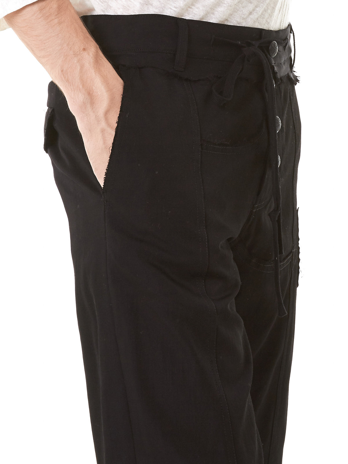 Raw-Finish Military Shorts (CD17S-0622-BLACK) - H. Lorenzo