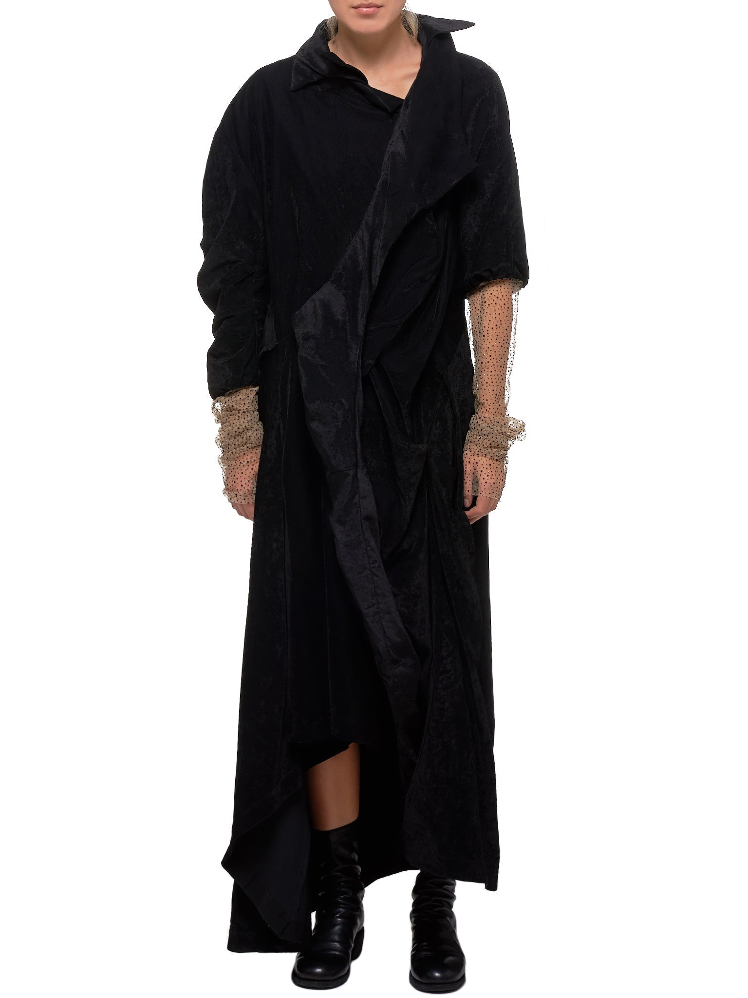 Velour Coat-Dress (CDR08-BLACK-CREAM-TULLE)
