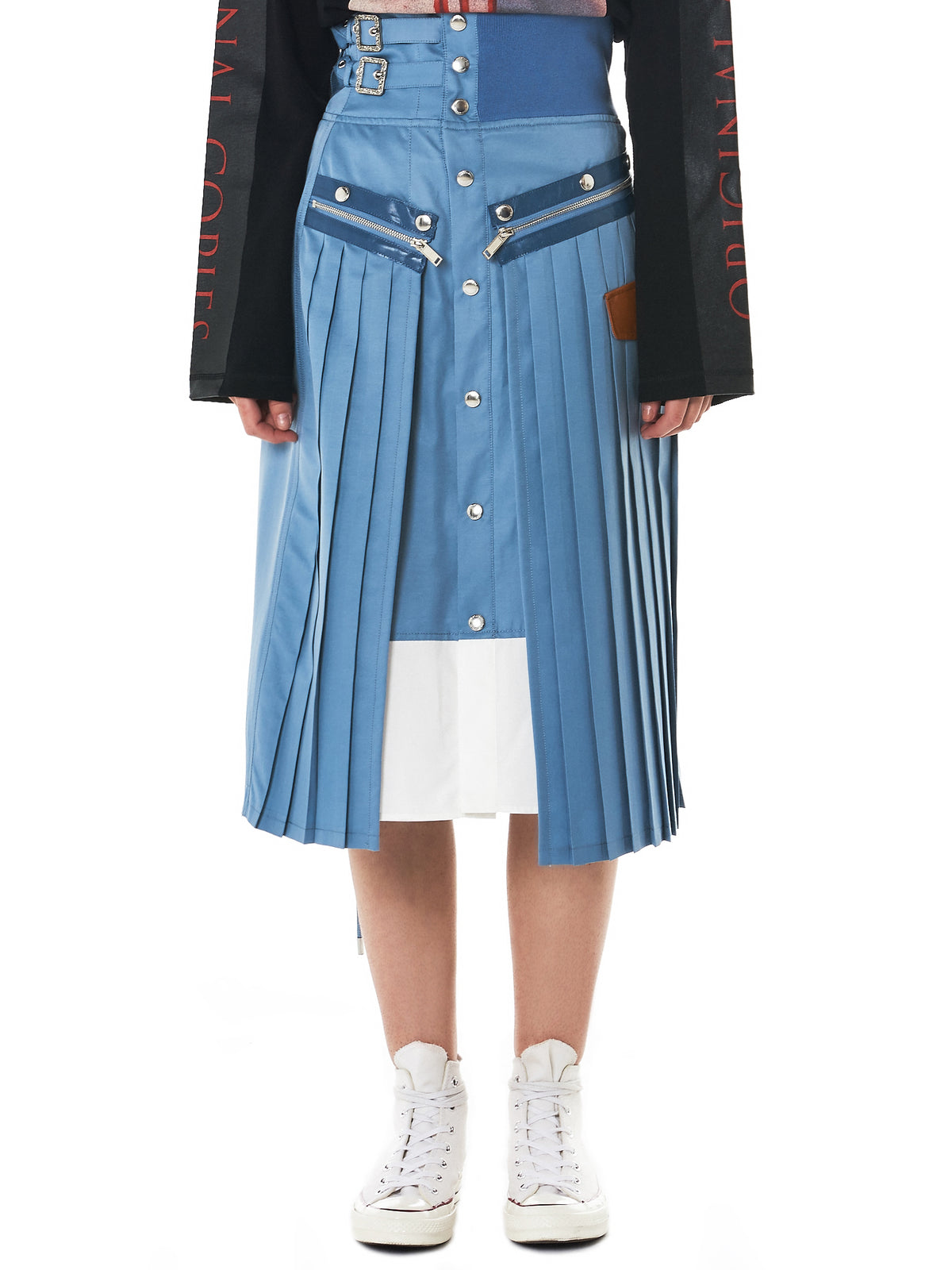Knife-Pleated Buttoned Skirt (CDW-18S-0703-BLUE)