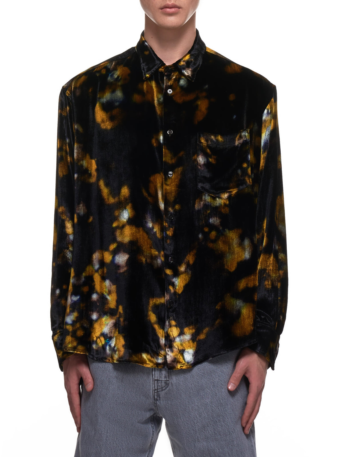 Distorted Pattern Wrinkled Cedric Shirt (CEDRIC-M17W647-BLACK-YELLOW-PR)