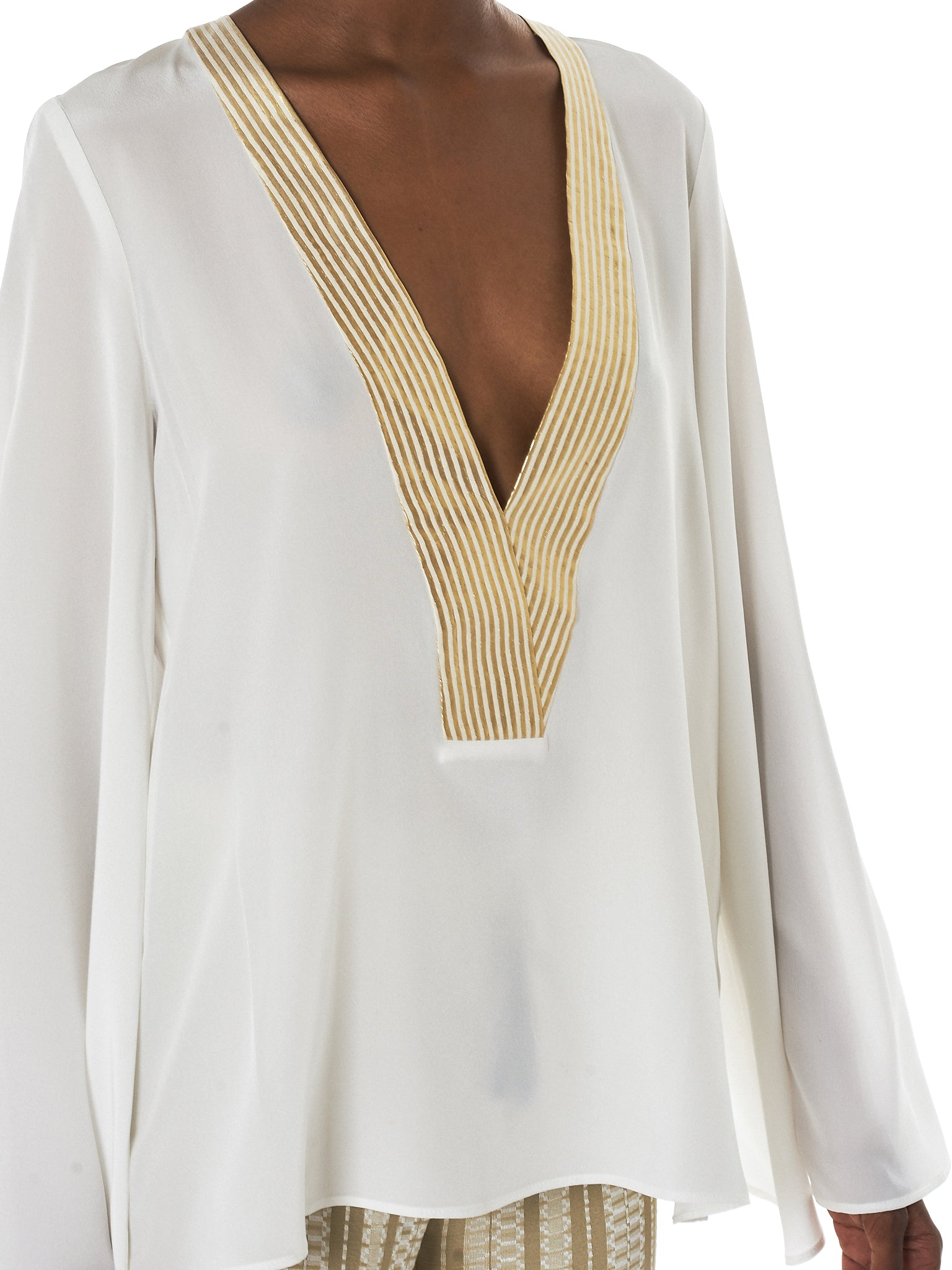 Zeus + Dione Gold Striped Blouse - Hlorenzo Detail 1