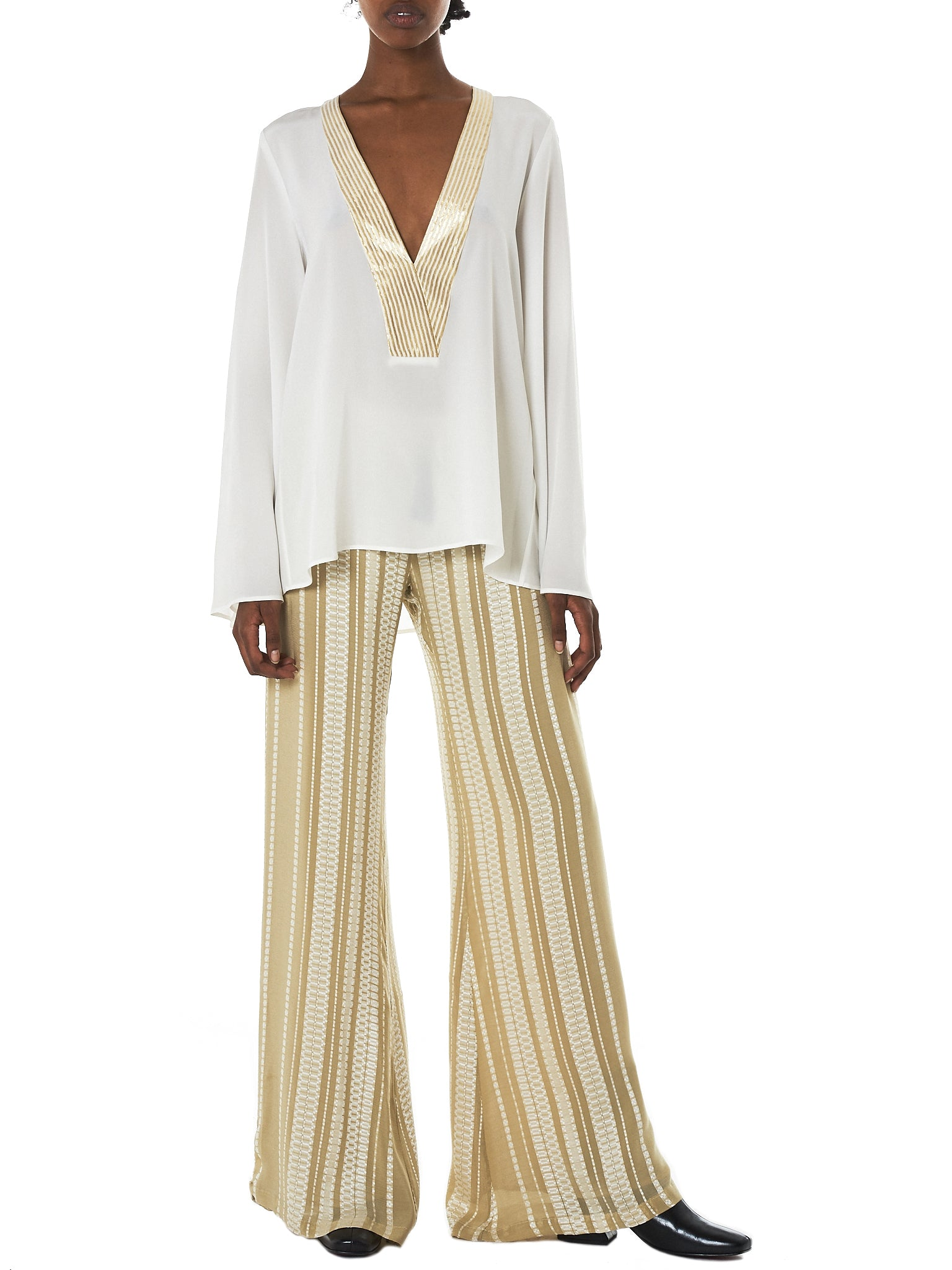Zeus + Dione Gold Striped Blouse - Hlorenzo Style