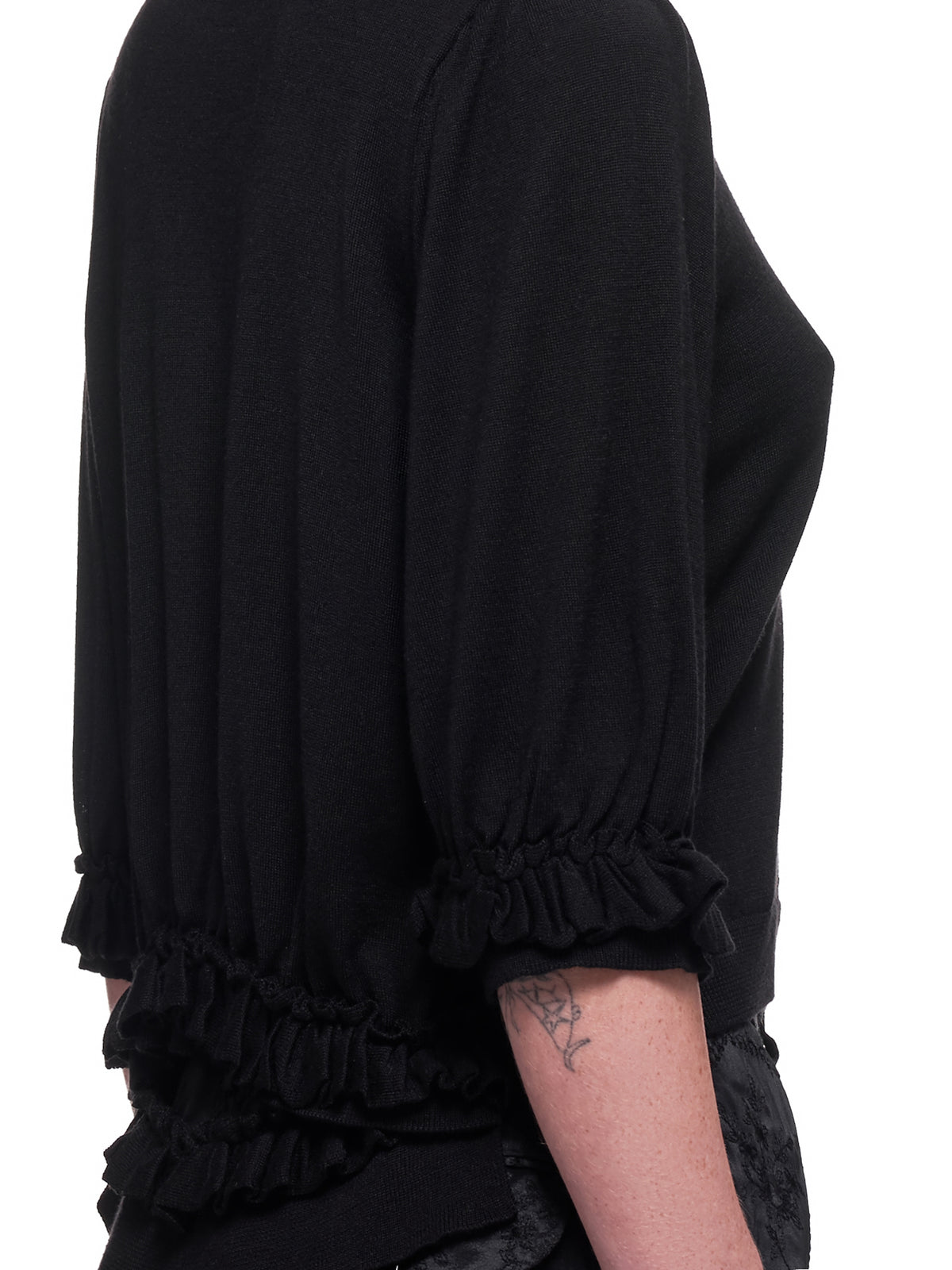 Puff Sleeve Cardigan (CMK-4B-0630-BLACK-CLEAR)