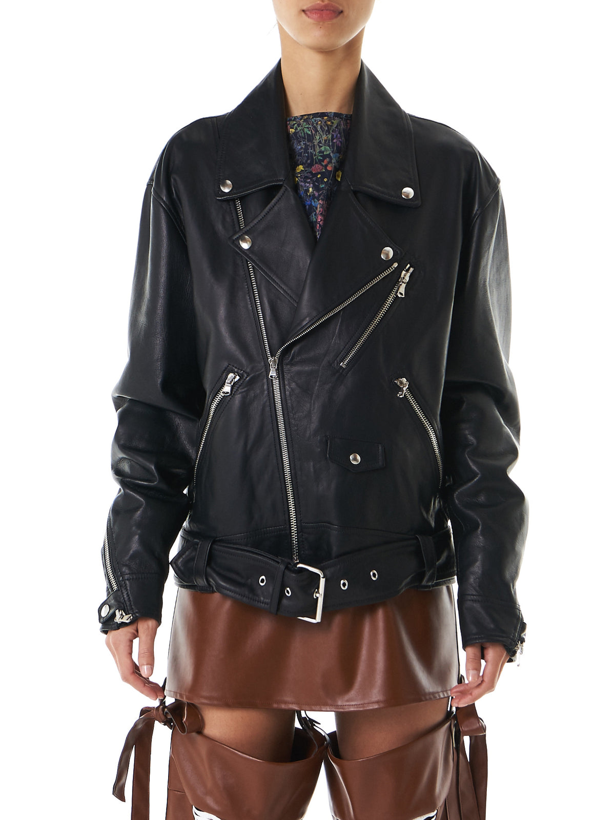 Oversized Biker Jacket (CO03-LEATHER-BLACK) - H. Lorenzo