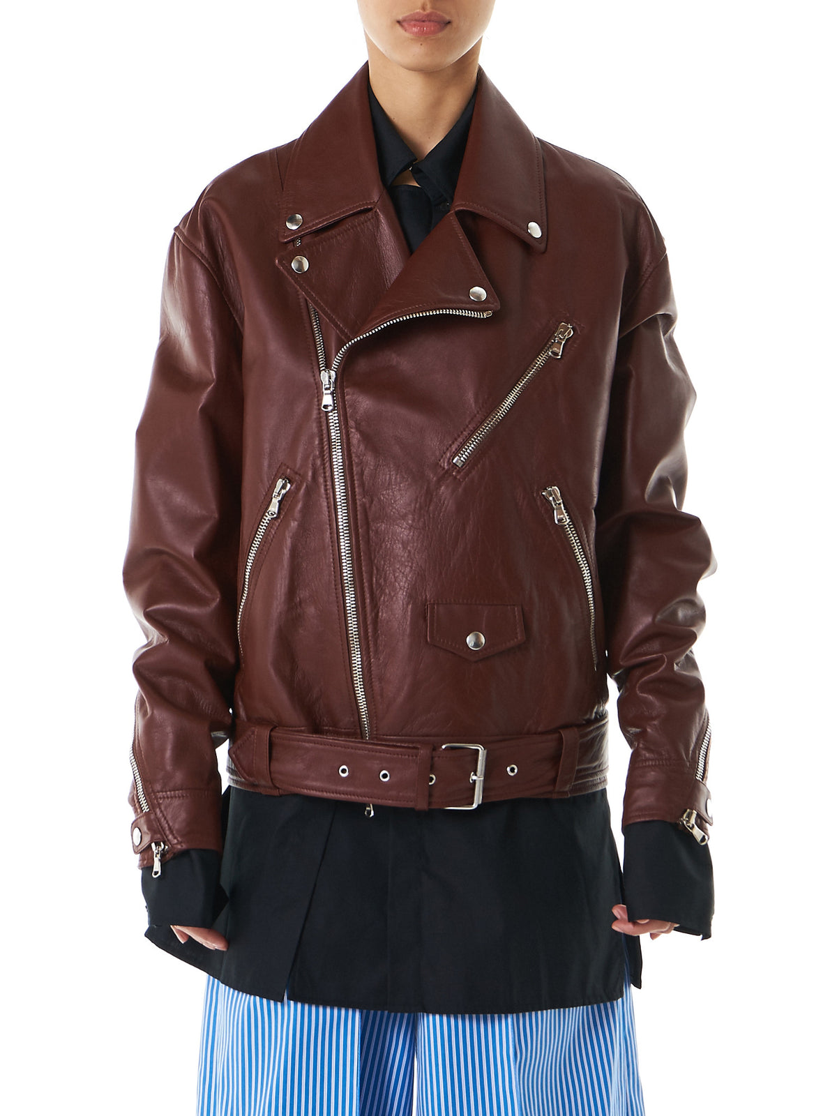 Oversized Biker Jacket (CO03-LEATHER-RICHBROWN) - H. Lorenzo