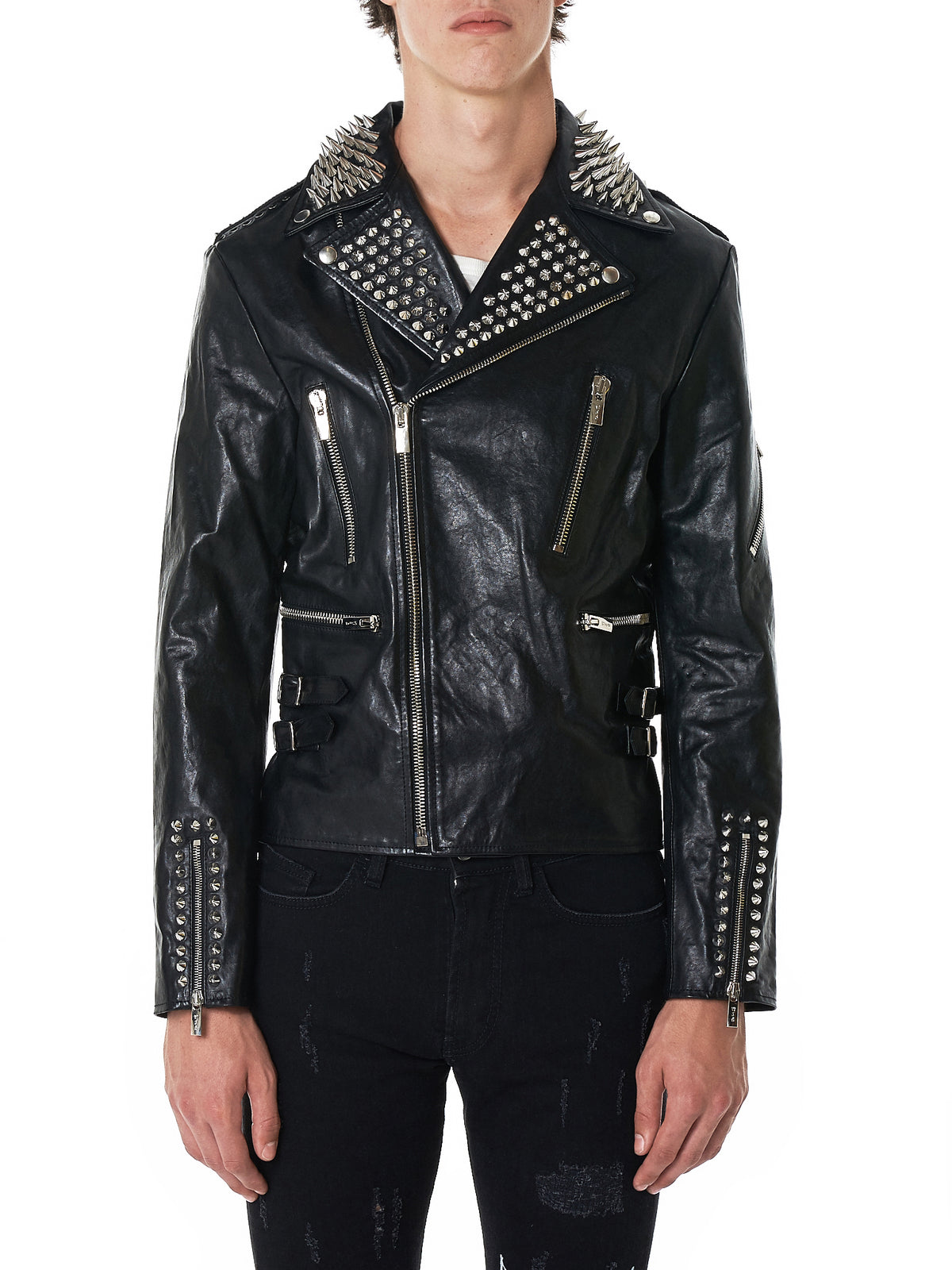 MJB (Marc Jacques Burton) Leather Jacket - Hlorenzo Front