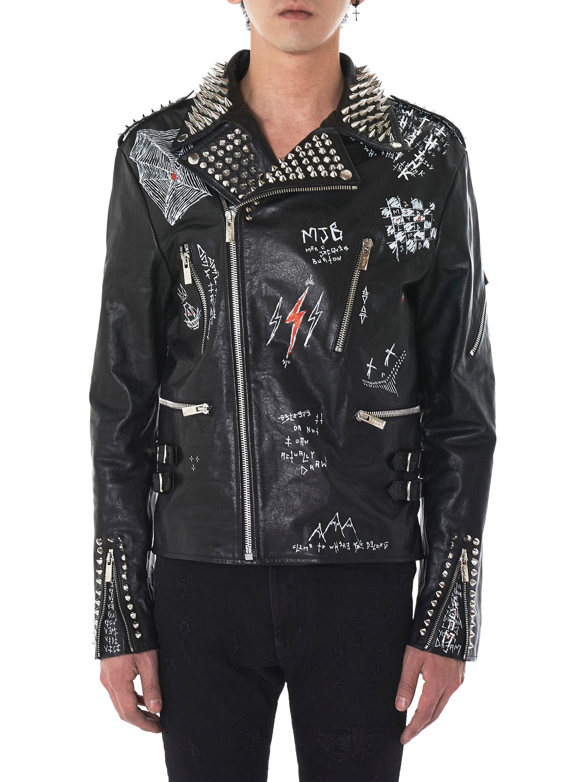 Hand-Painted Studded Biker Jacket (CORST27-WSTUDS-BLACK)