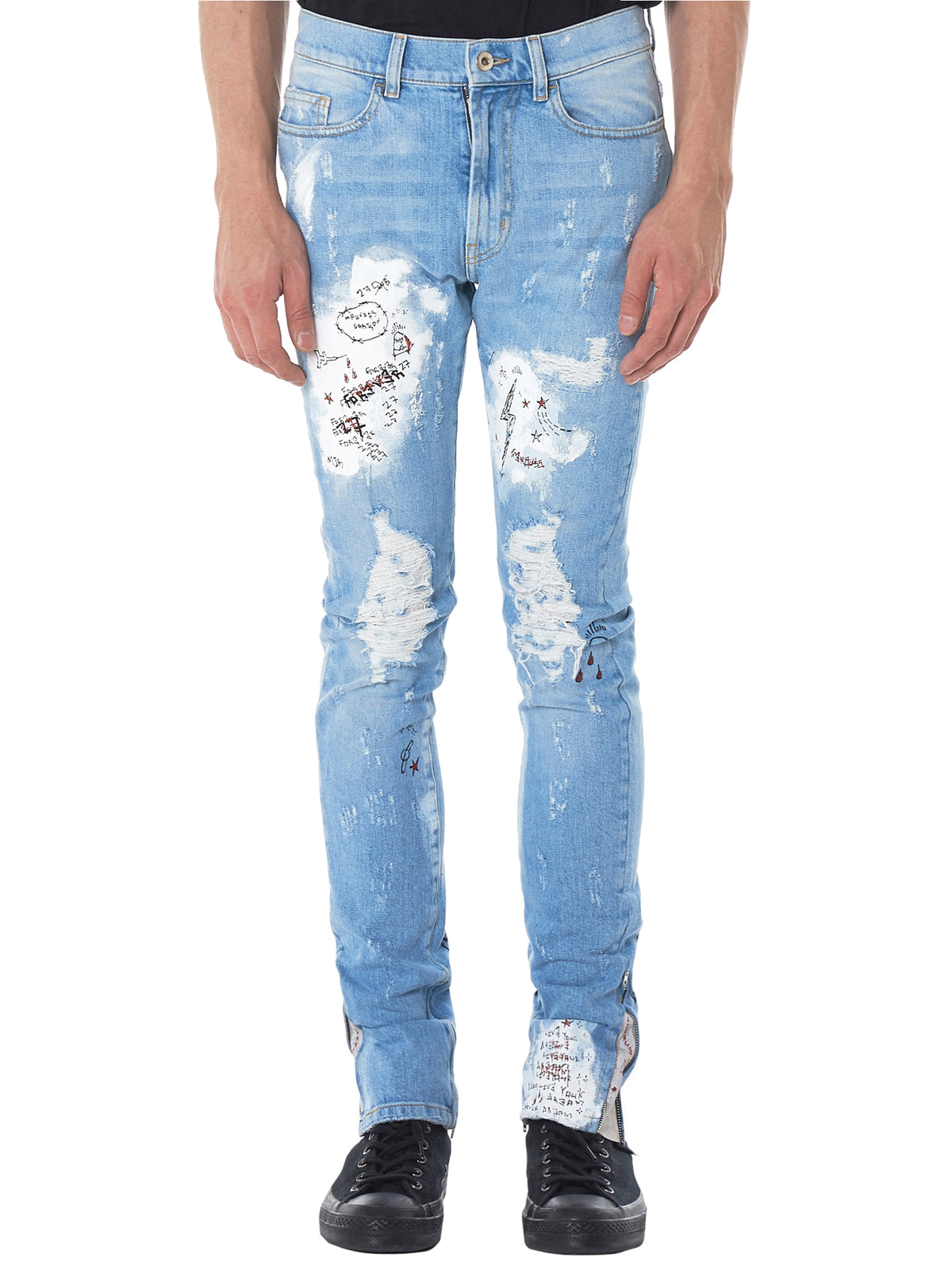 Hand-Painted Distressed Jeans (CRIXNK27-LIGHT-BLUE)