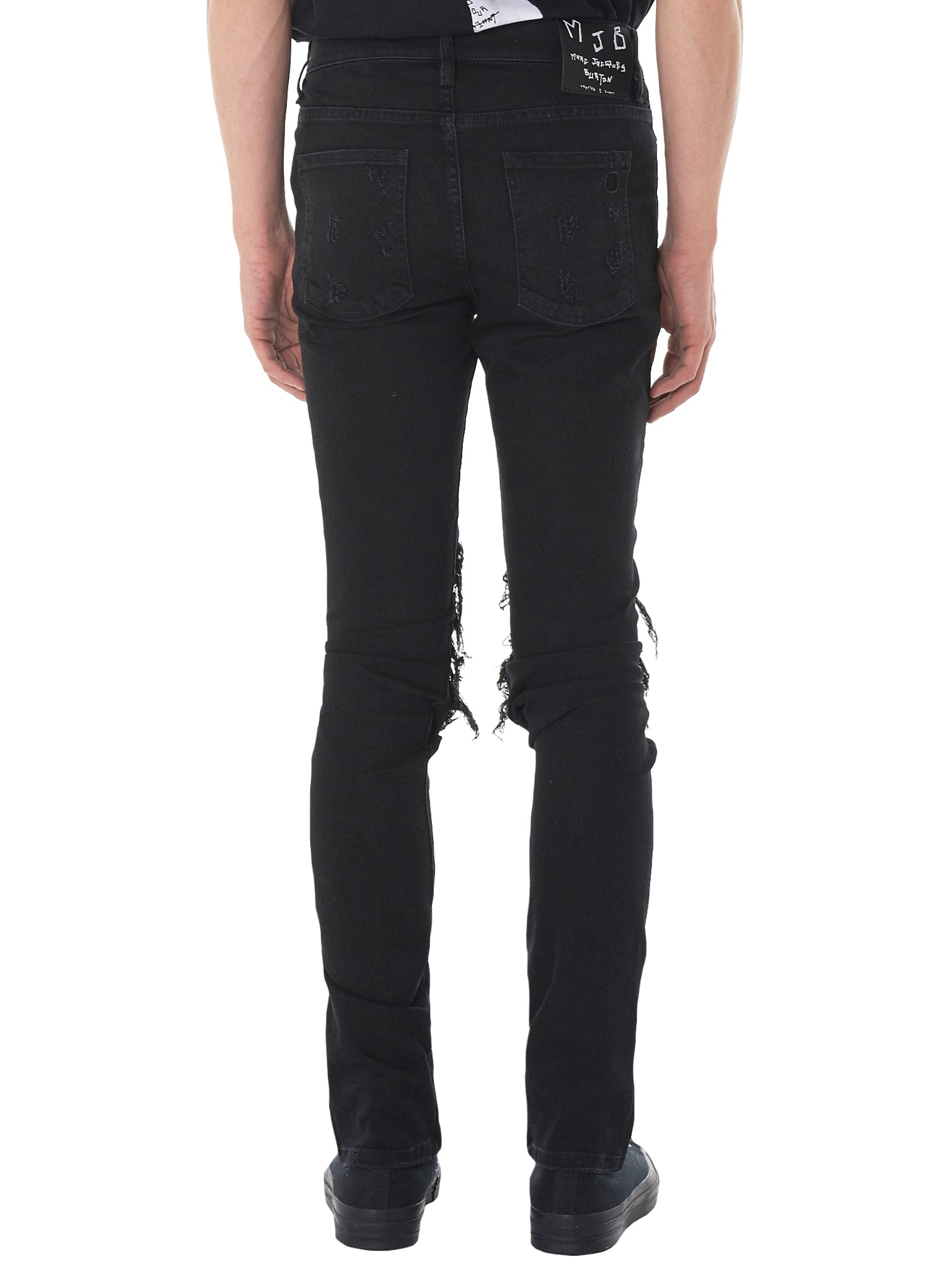 Hand-Painted Distressed Jeans (CRIXPR-BLACK)