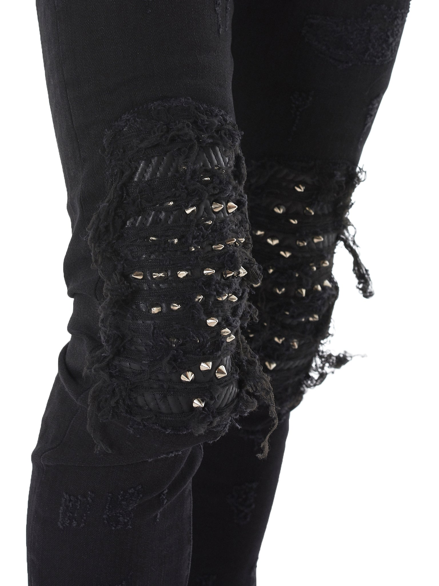 Studded Distressed Jeans (CRIXST-BLACK)