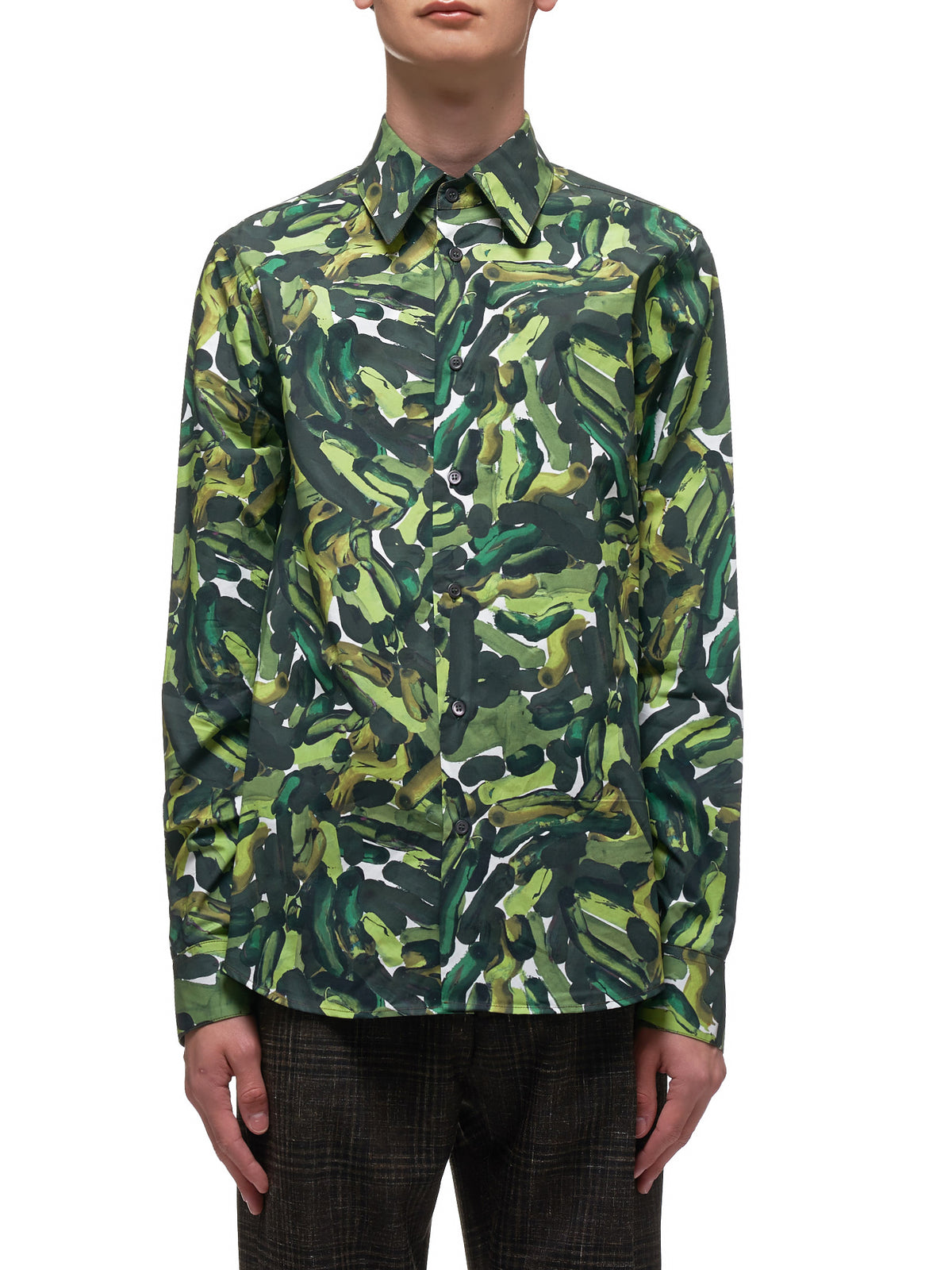 Printed Button Up Shirt (CUMU0024A0-S52765-GREEN)
