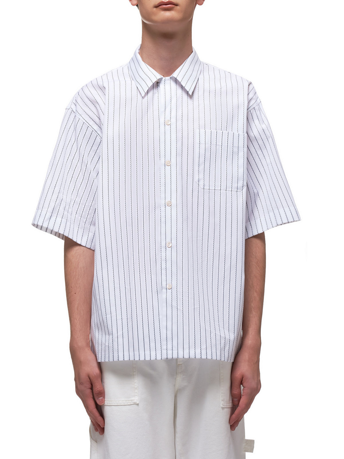 Squigly Pinstripe Camp Shirt (CUMU0054A0-S52711-WHITE-BLACK)