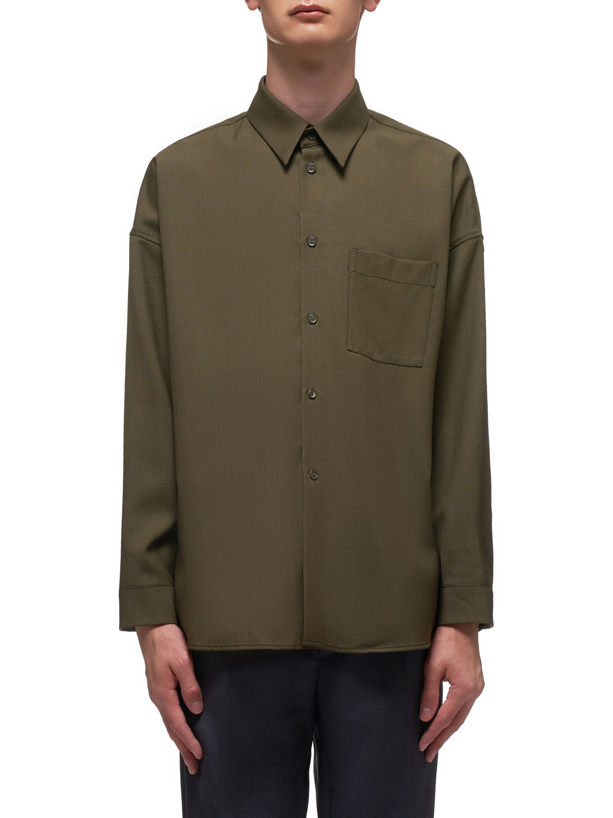 Wool Button Down Shirt (CUMU0061A0-S52744-OLIVE)