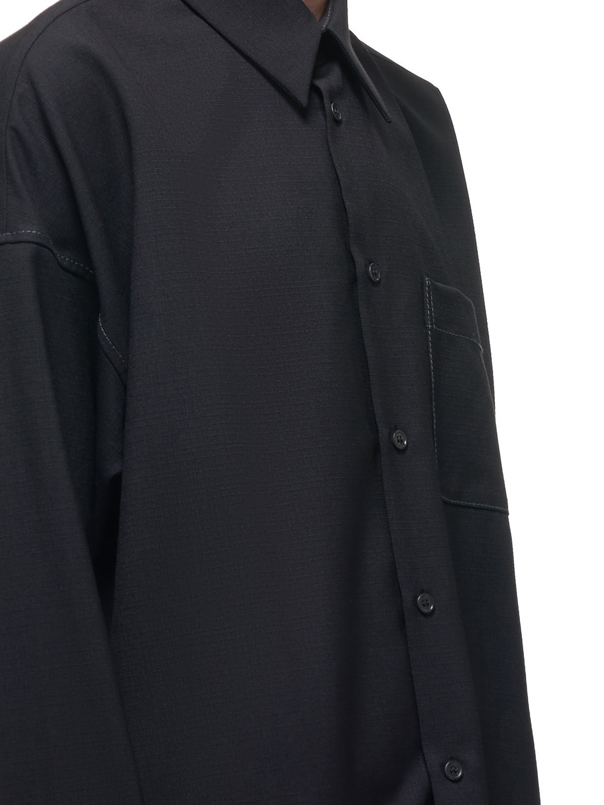 Wool Button Down Shirt (CUMU0061A0-S52744-BLACK)