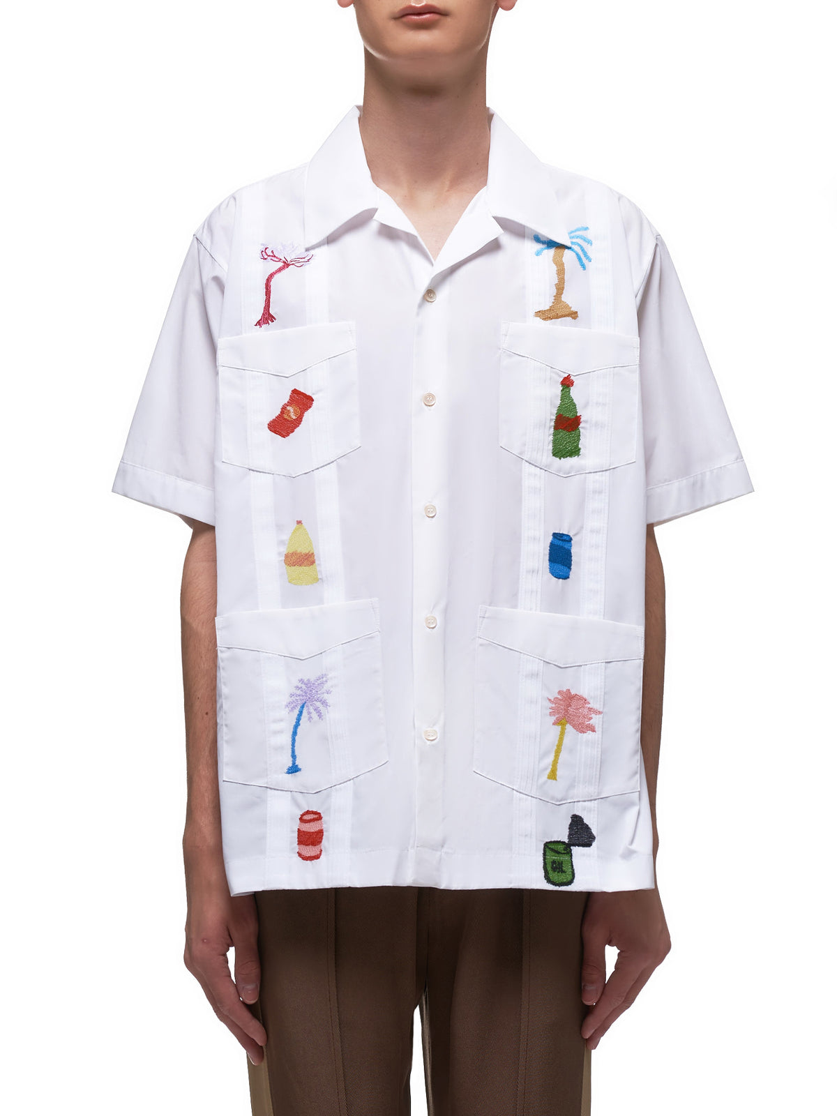 Embroidered Bowling Shirt (CUMU0148S0-S49305-WHITE)
