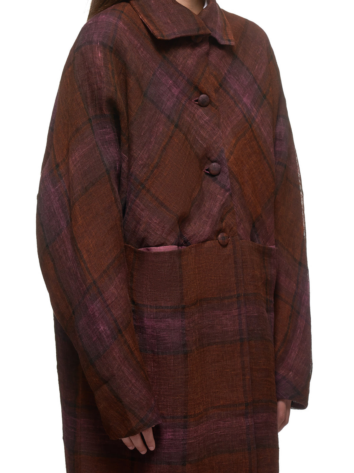 Window Pane Plaid Coat (CW421-LLCK-RUST-BROWN)