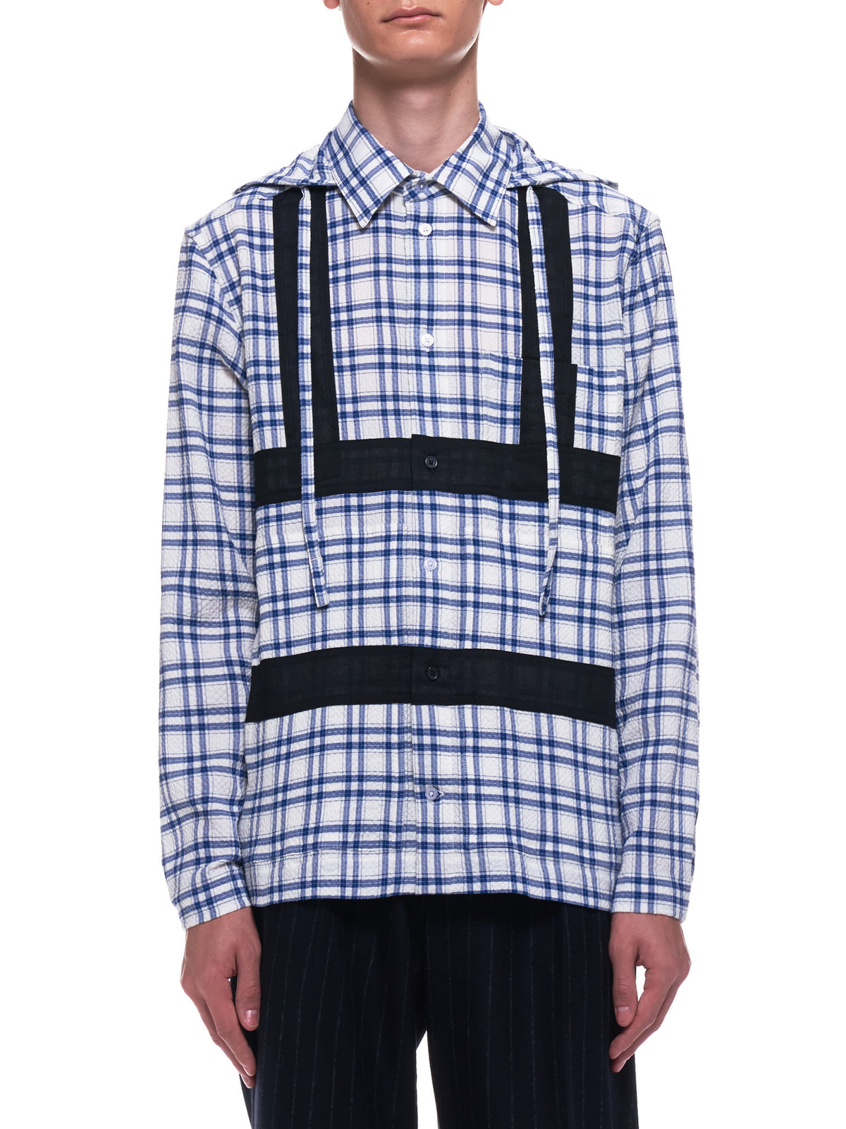 Harness Hooded Shirt (CWOSHI01-HOODED-NAVY-CHECK)