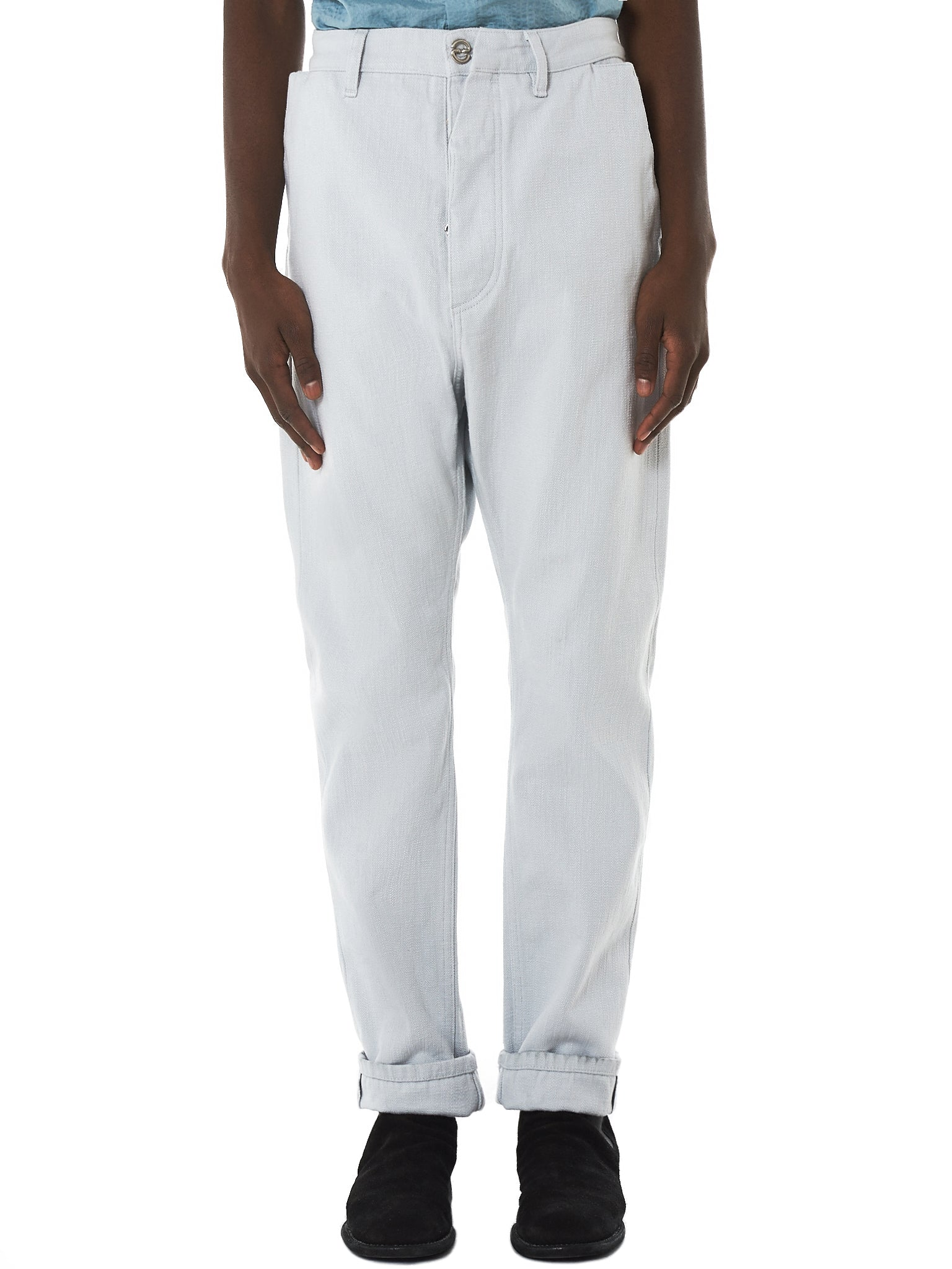 Deepti Selvedge Denim Pants - Hlorenzo Front