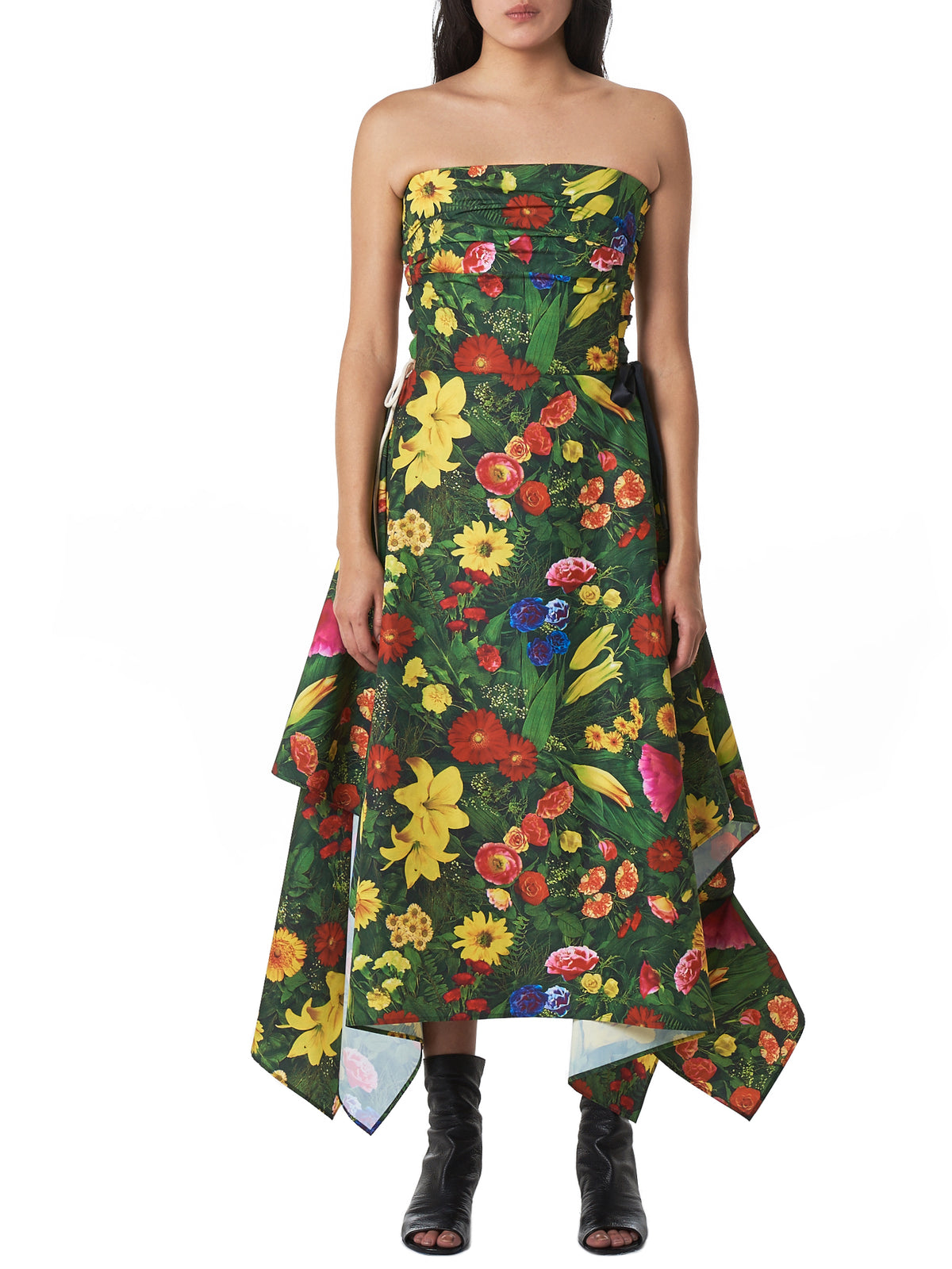Floral Sidelace Dress (D10S19LL-MULTICOLOR)