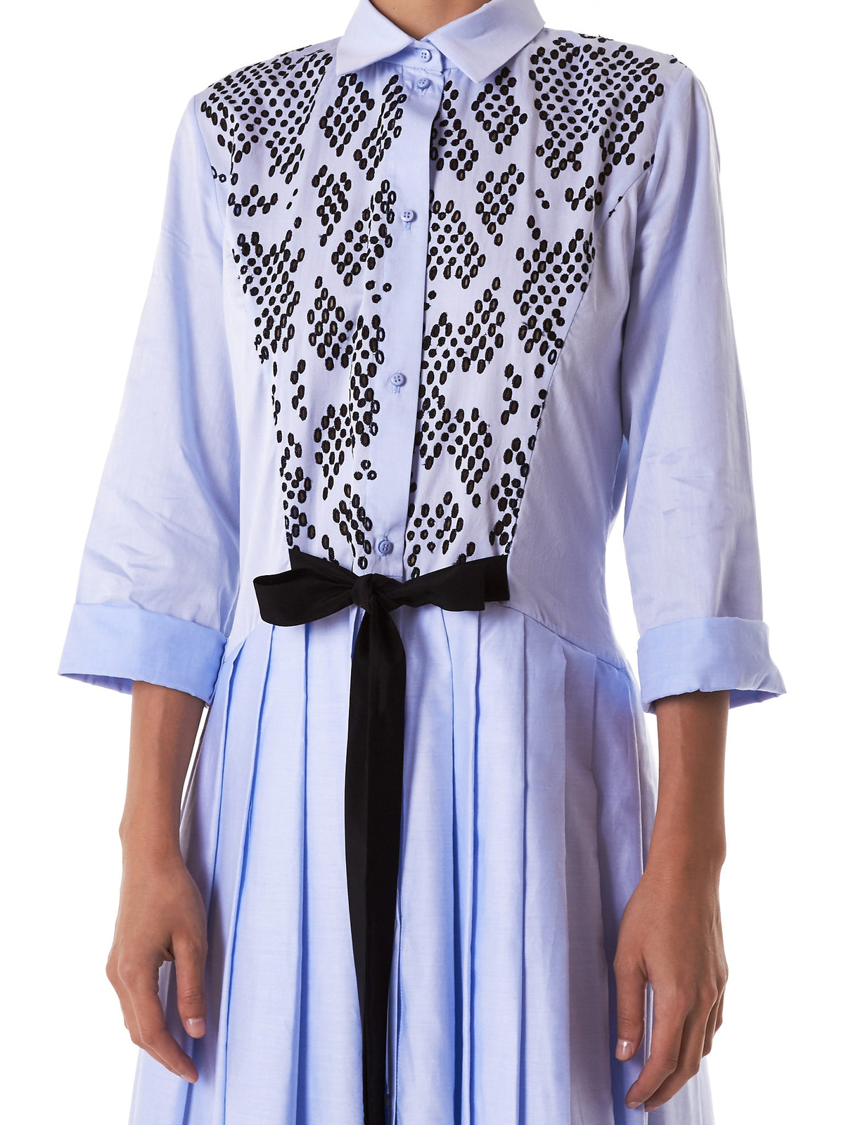 Perforated Button-Down Dress (D18-ICEBLUE-BLACK)