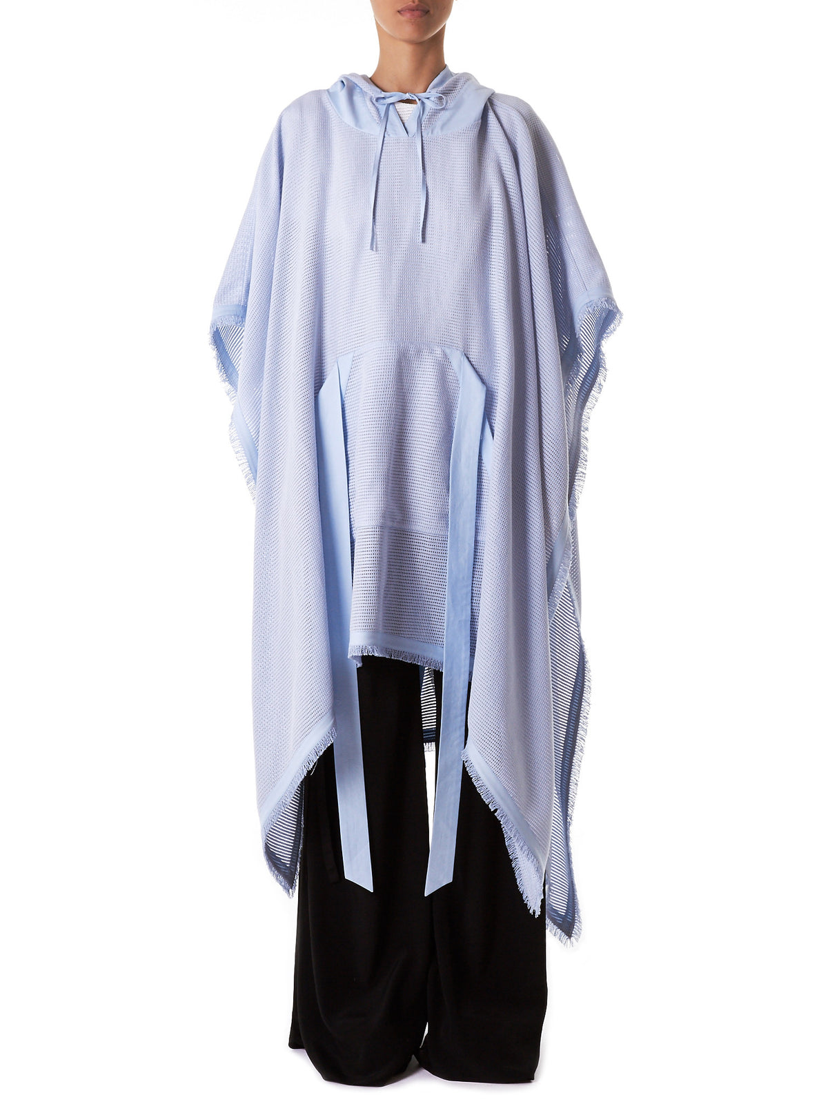 Fringed Hooded Poncho (D2-ICEBLUE)