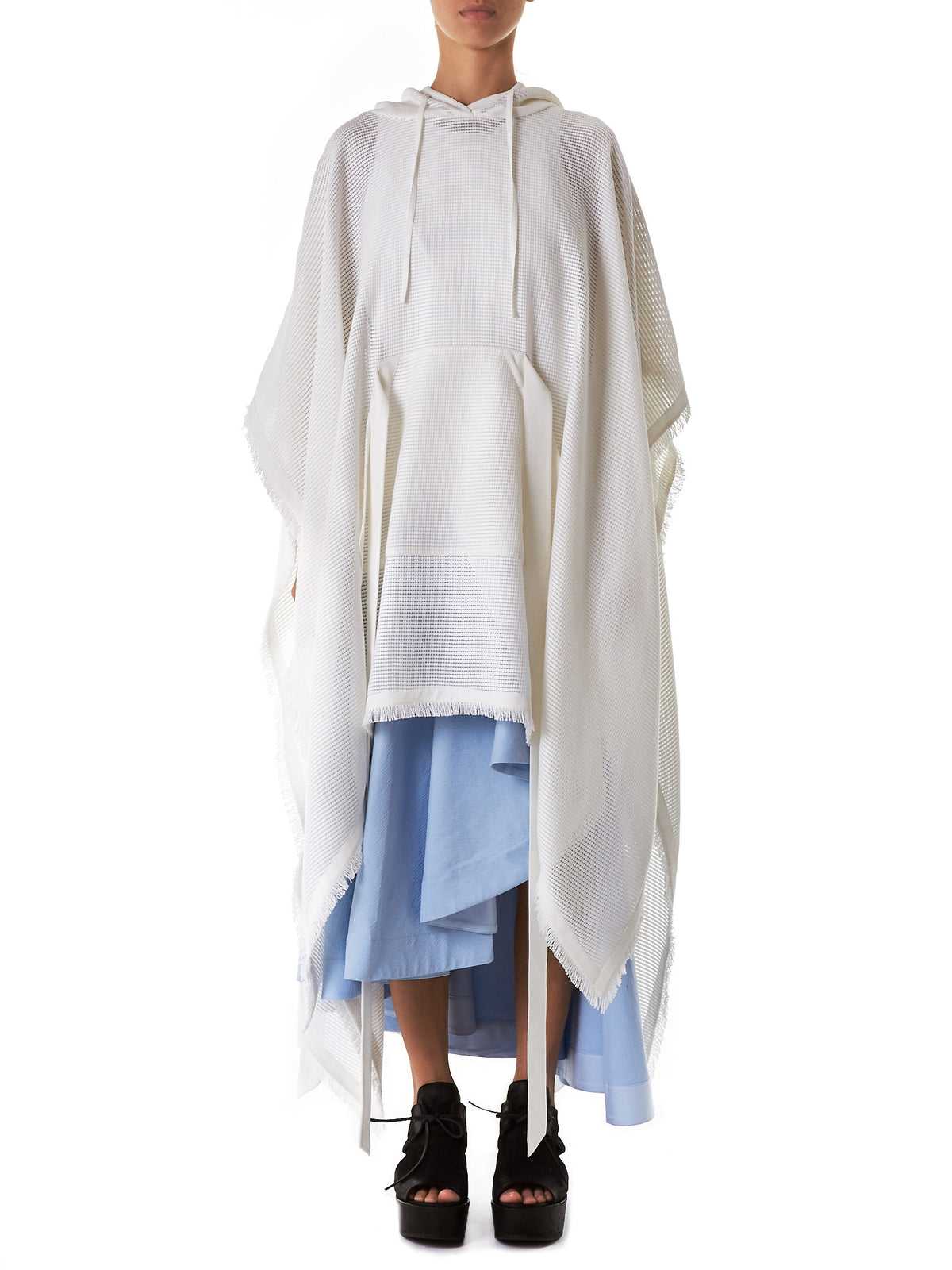 Fringed Hooded Poncho (D2-OFFWHITE)