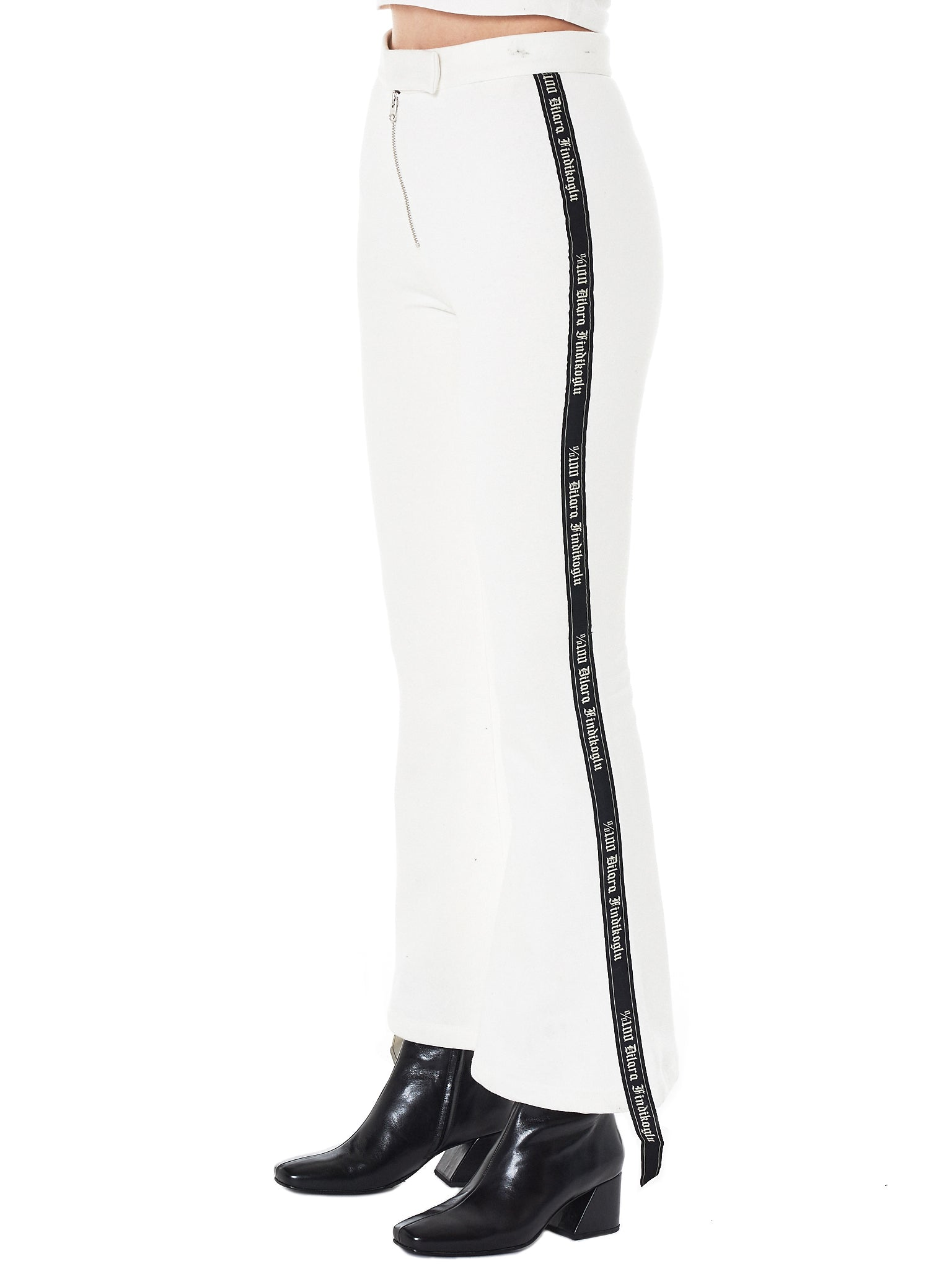 Dilara Findikoglu white flared trouser- Hlorenzo side