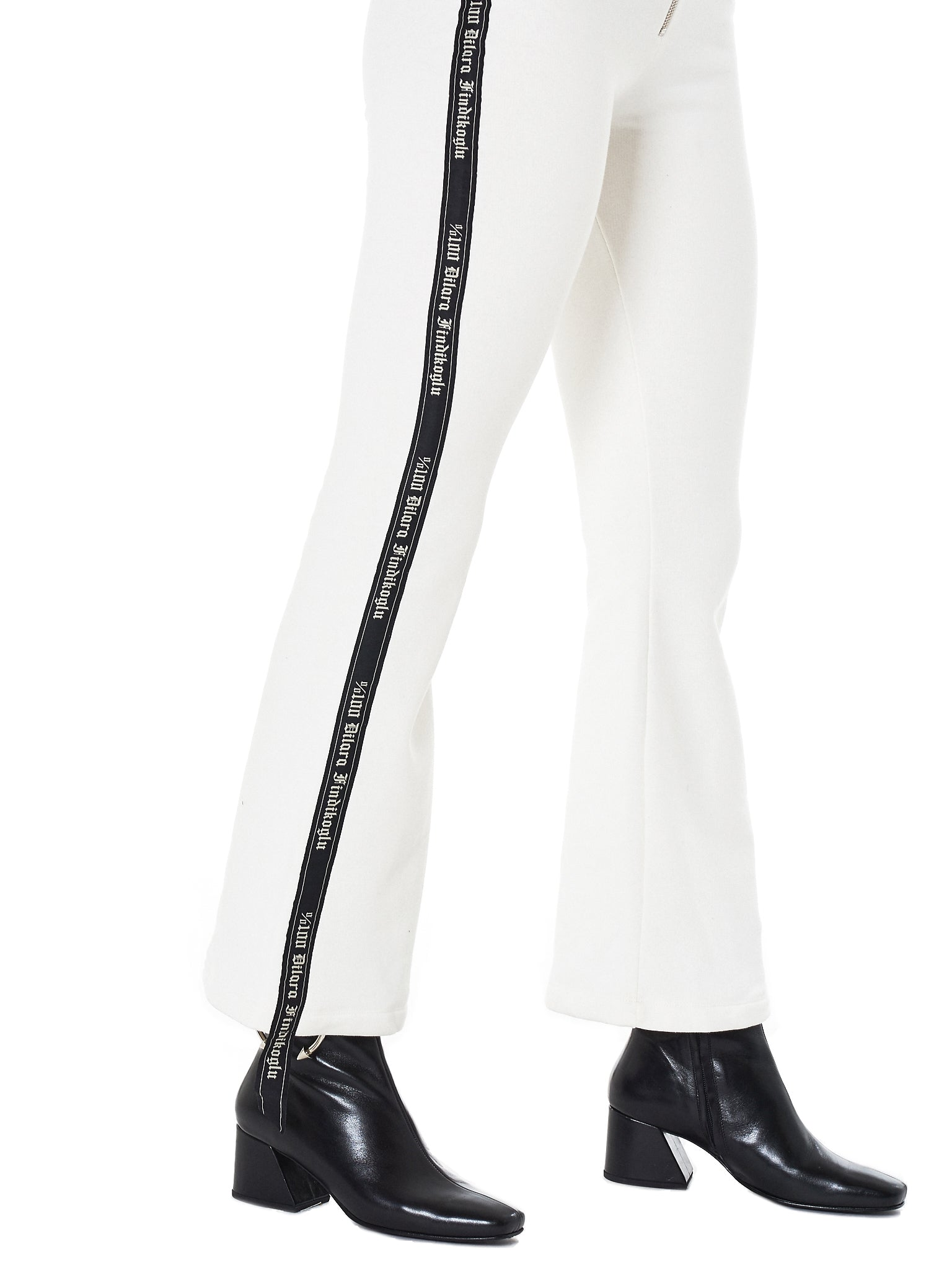 Dilara Findikoglu white flared trouser- Hlorenzo stripe detail