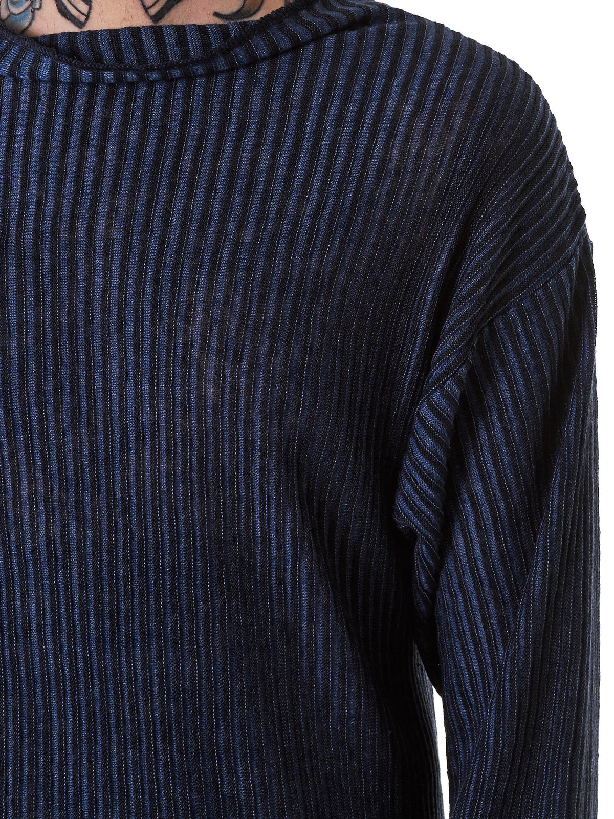 Cowled Knit Pullover (DENIM-KNIT-PULL-BLUE) - H. Lorenzo