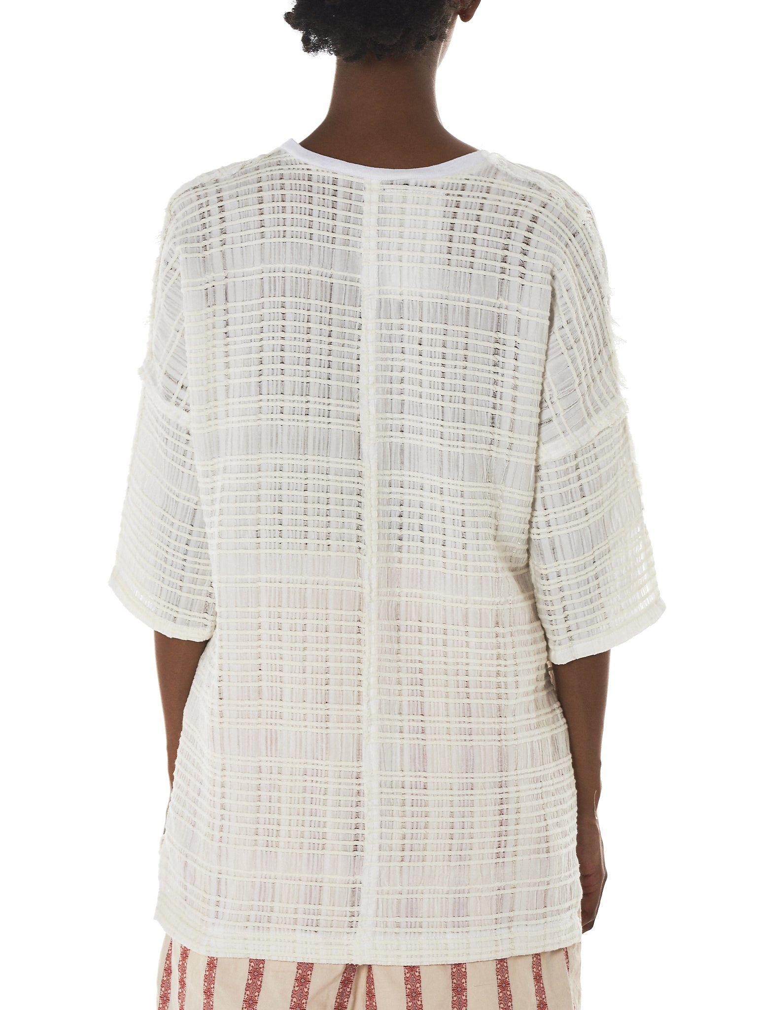Weaved Check Split Sleeve Tee (DGN-T1-WHITE)