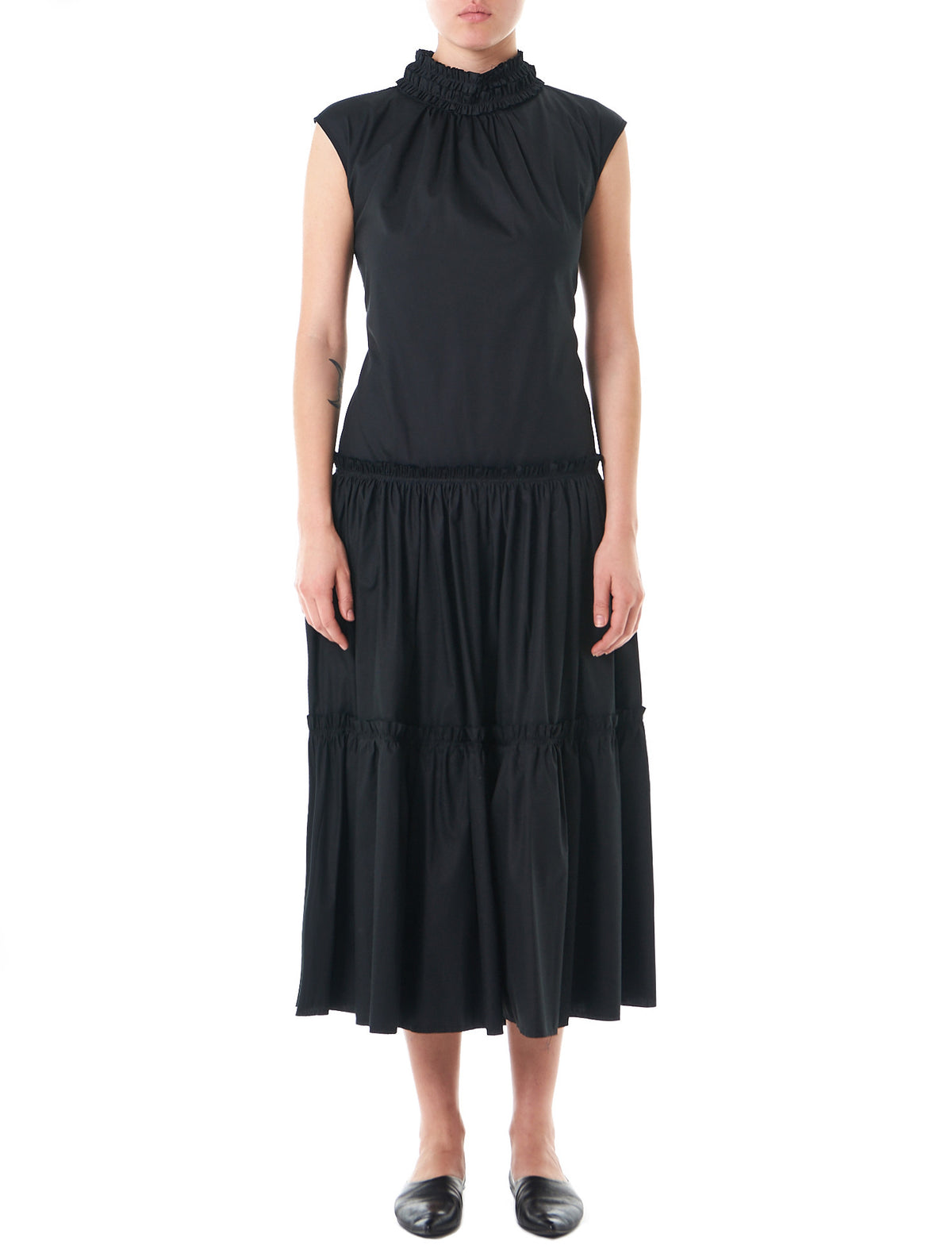 Exposed Back Sleeveless Dress (DR04-BLACK) - H. Lorenzo